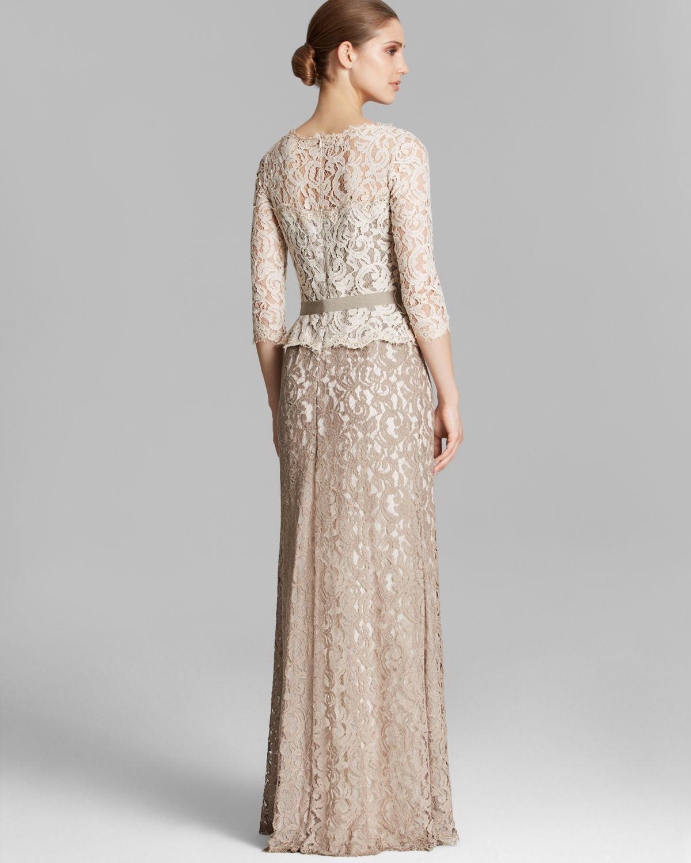 Nice Tadashi Shoji Illusion Lace Gown Festooning - Images for ...