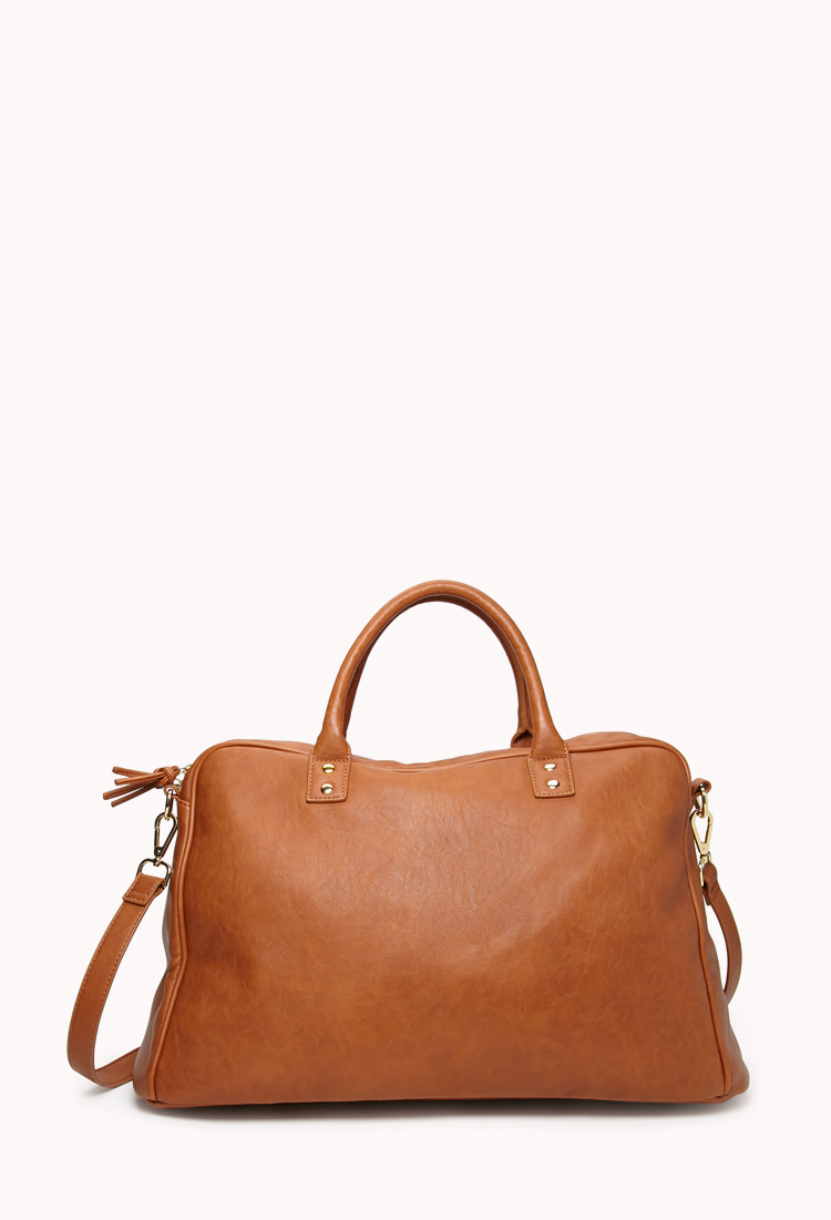 Forever 21 Faux Leather Duffle Bag In Black Lyst