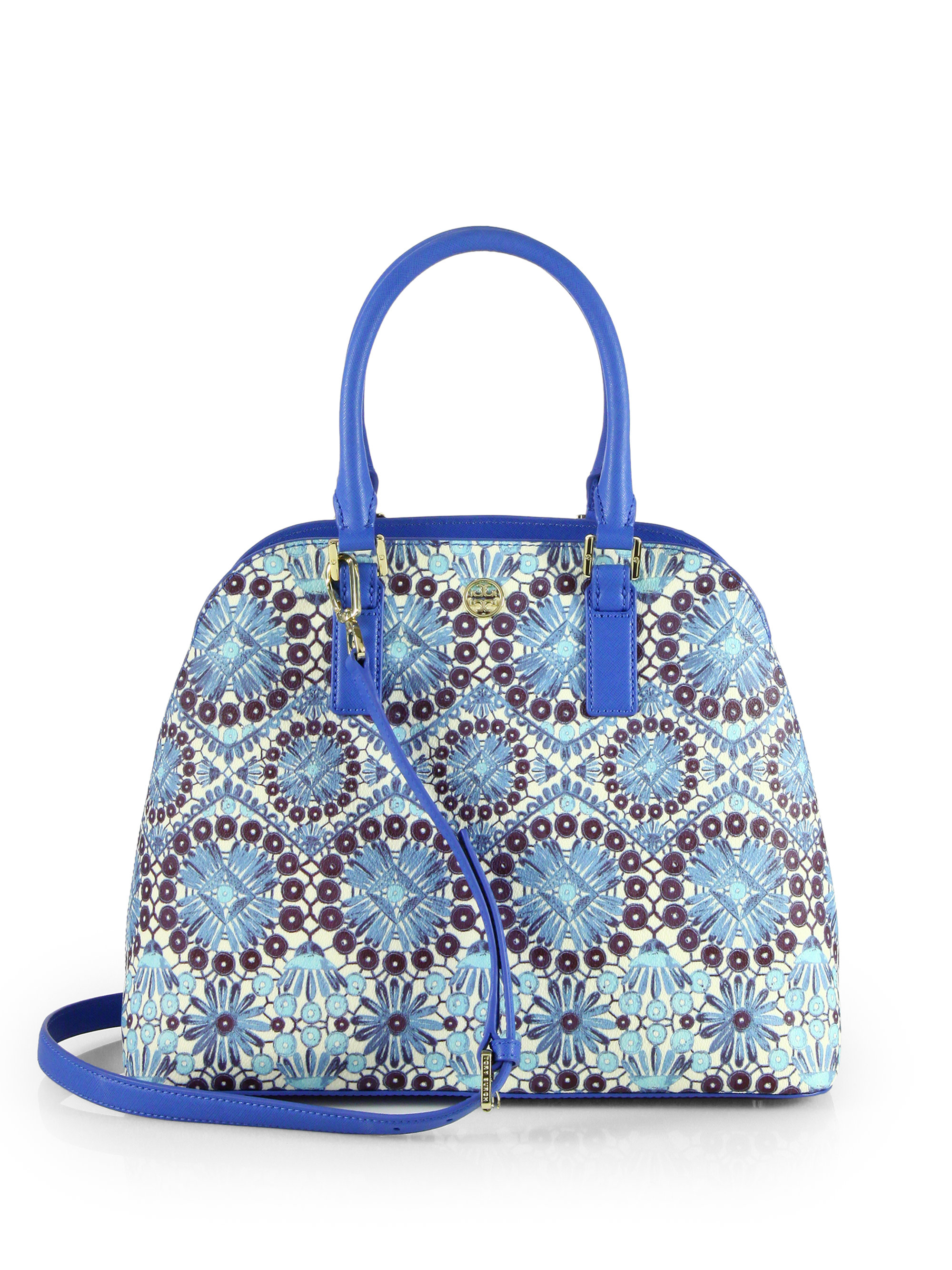 Tory Burch Robinson Printed Open Dome Bag In Blue Bahama