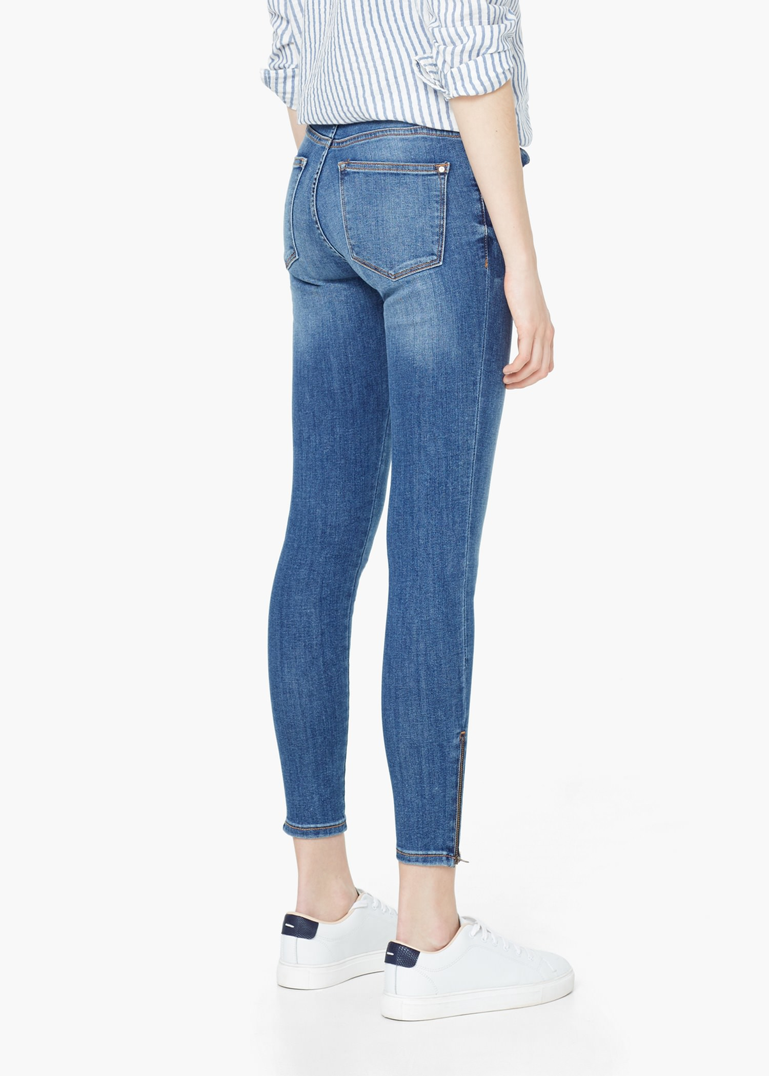 Lyst - Mango Skinny Crop Tattoo Jeans in Blue
