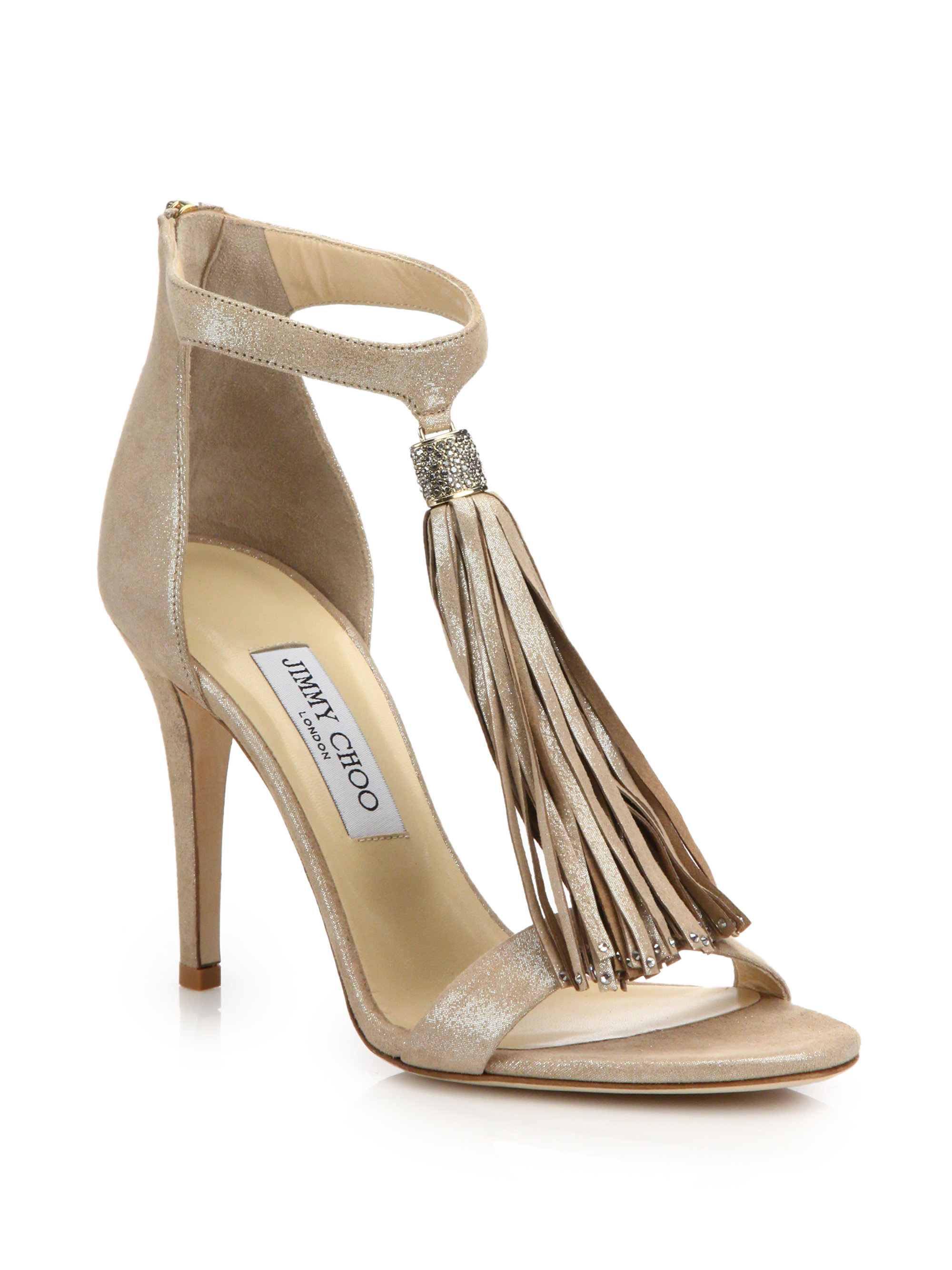 Jimmy choo Viola 100 Shimmer Suede Tassel Sandals in Brown ...