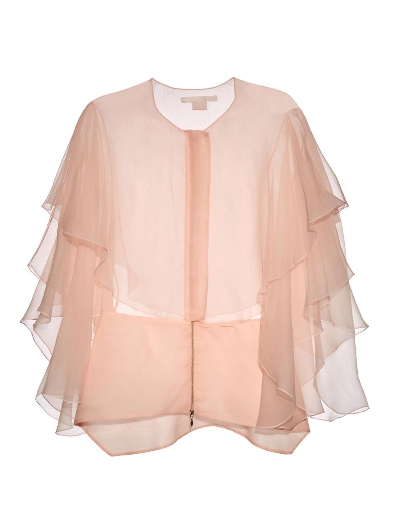 Ruffled Organza Skirt With Embroidered And Beaded Bodice: Antonio Berardi Organza Ruffled Cape Top In Pink (LIGHT