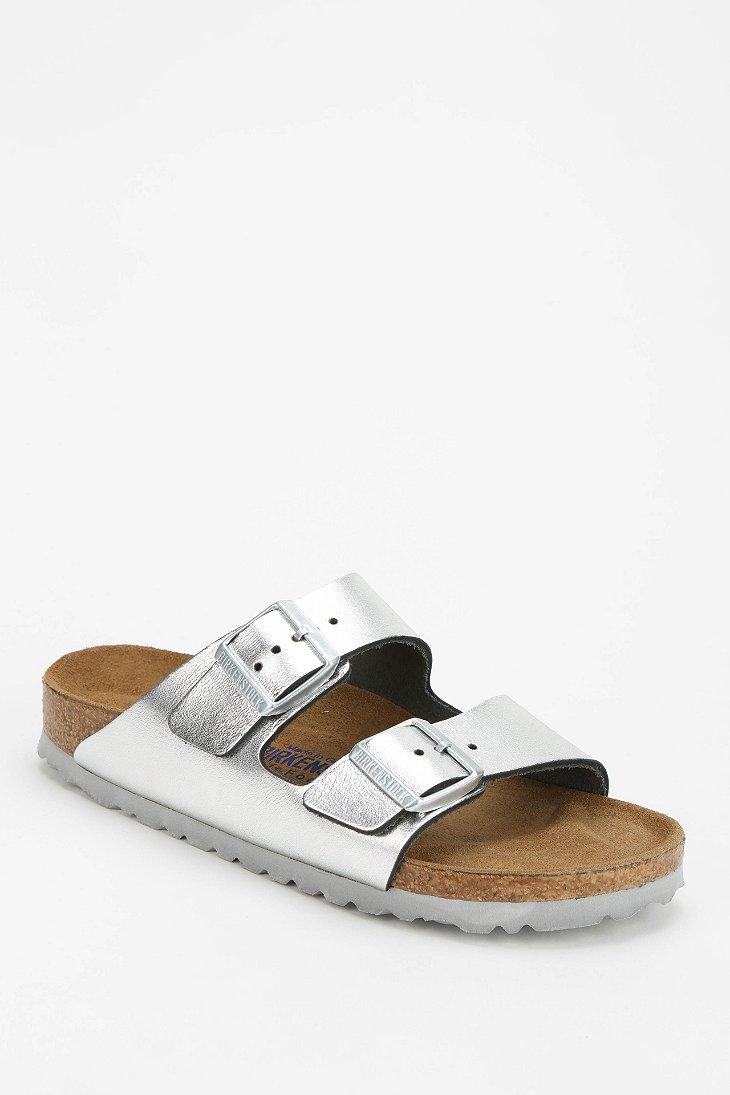 birkenstock arizona metallic leather slide sandal in. Black Bedroom Furniture Sets. Home Design Ideas