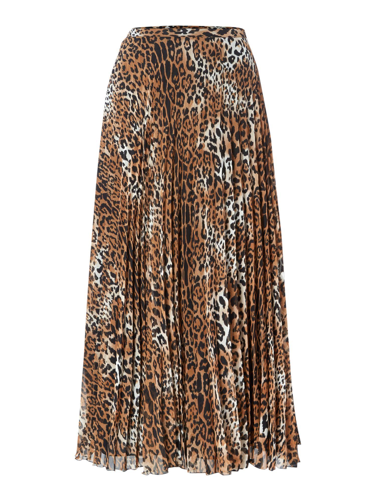 biba leopard printed pleated midi skirt lyst