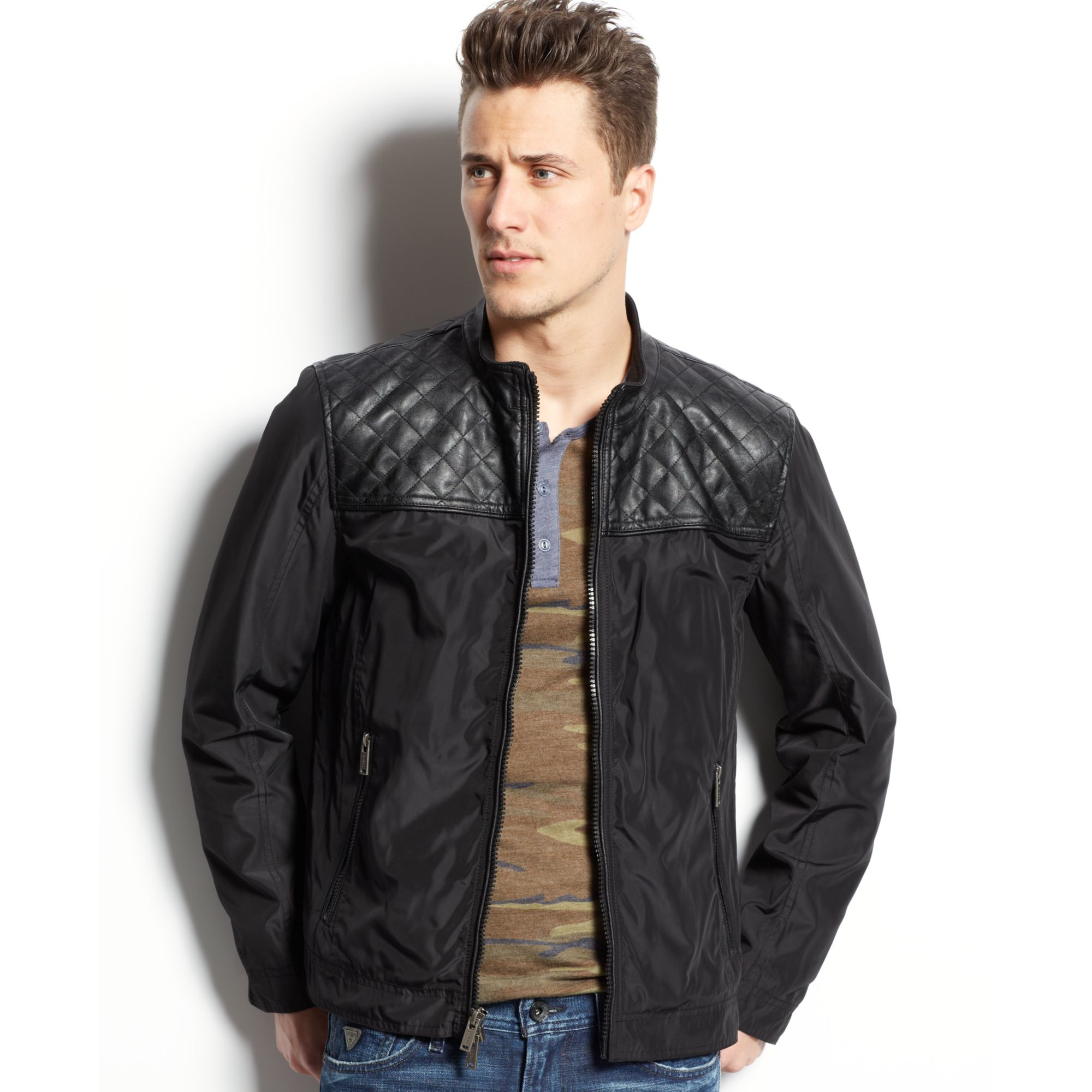 Guess Stand Collar Jacket With Quilted Faux Leather Detail