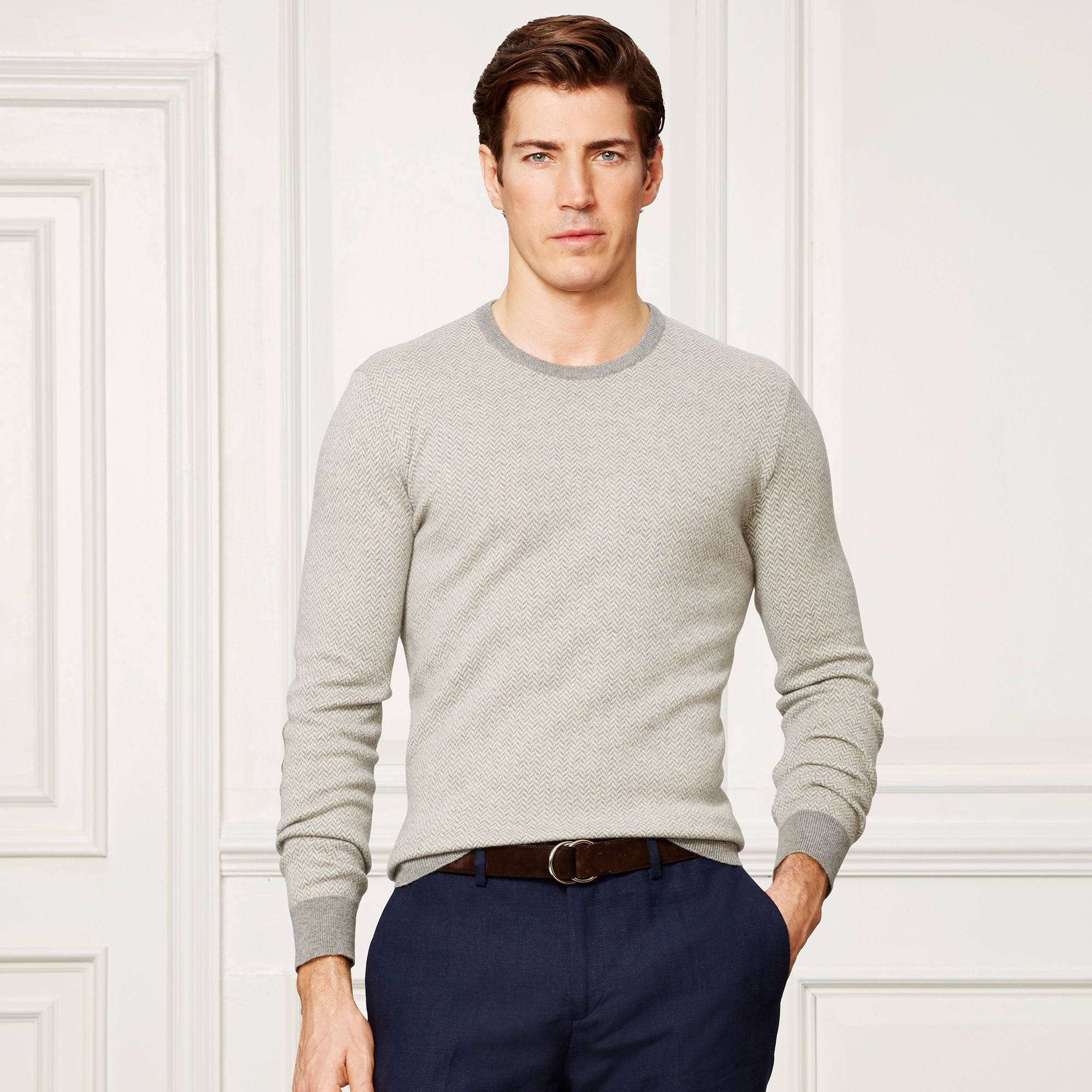Ralph lauren purple label Suede-patch Cashmere Sweater in Gray for ...