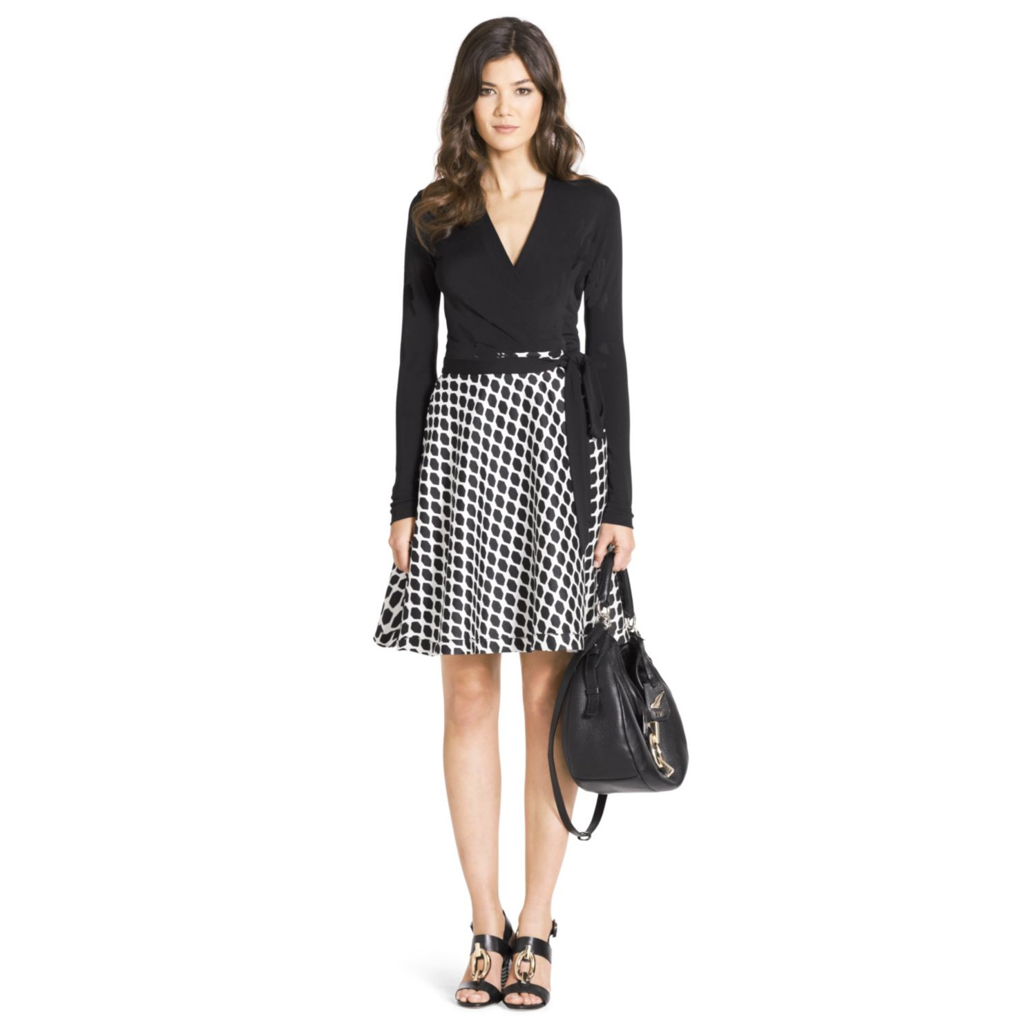 Dvf Amelia Silk Combo Flared Wrap Dress View Fullscreen