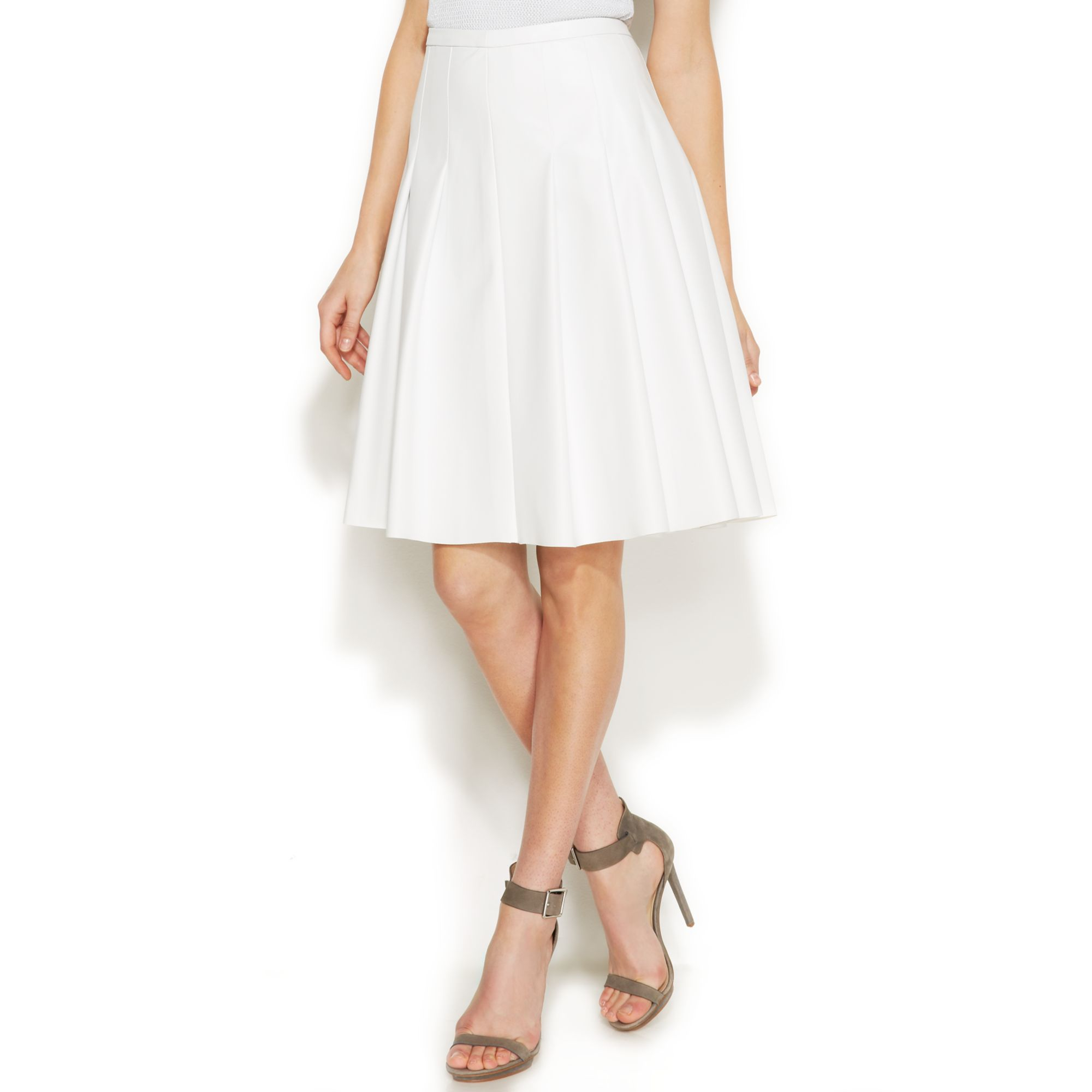calvin klein faux leather pleated skirt in white lyst