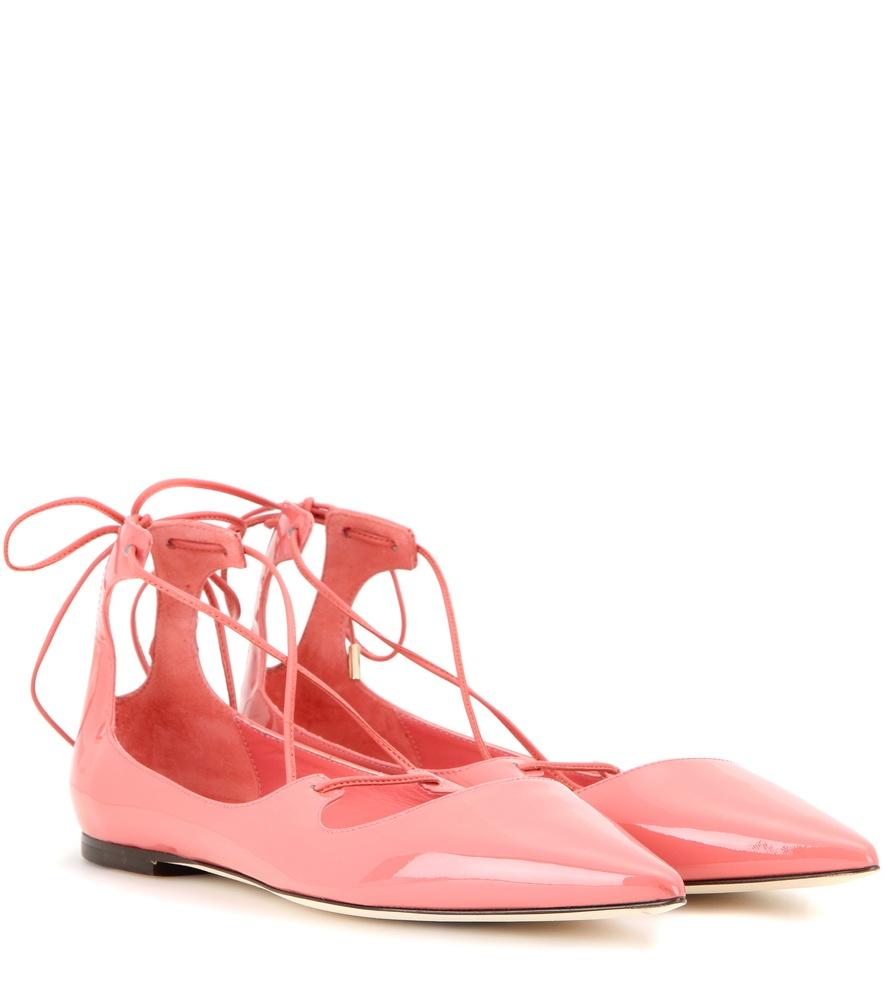 cf389beb8057 Jimmy choo Vita Patent Leather Lace-up Ballerinas in Pink .
