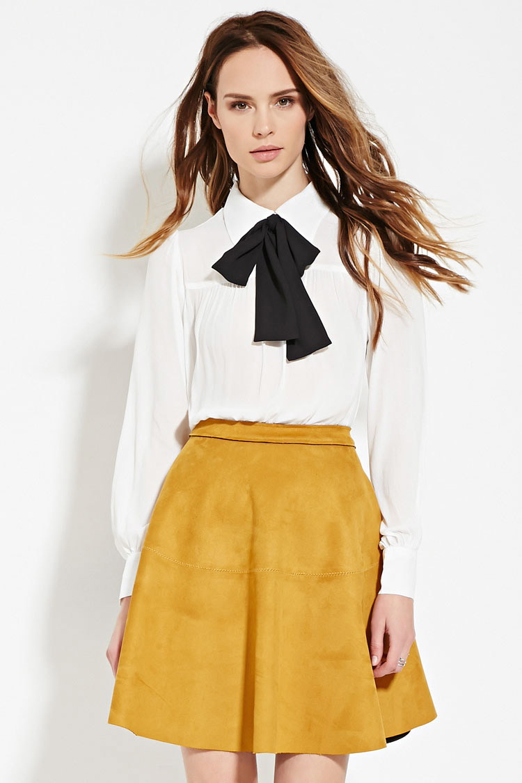 Lyst Forever 21 Contemporary Bow Front Blouse In White