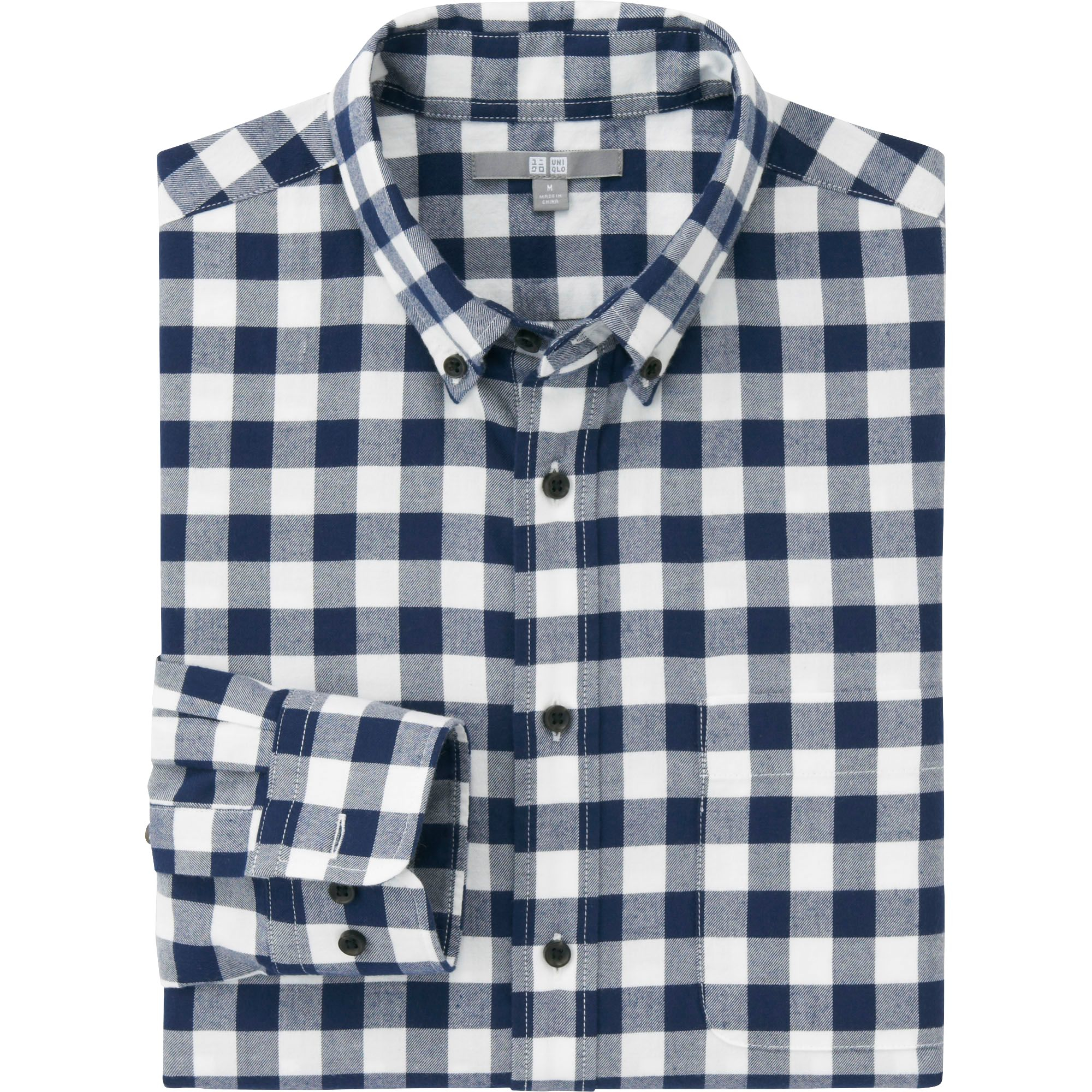 Uniqlo Men Flannel Check Long Sleeve Shirt In White For