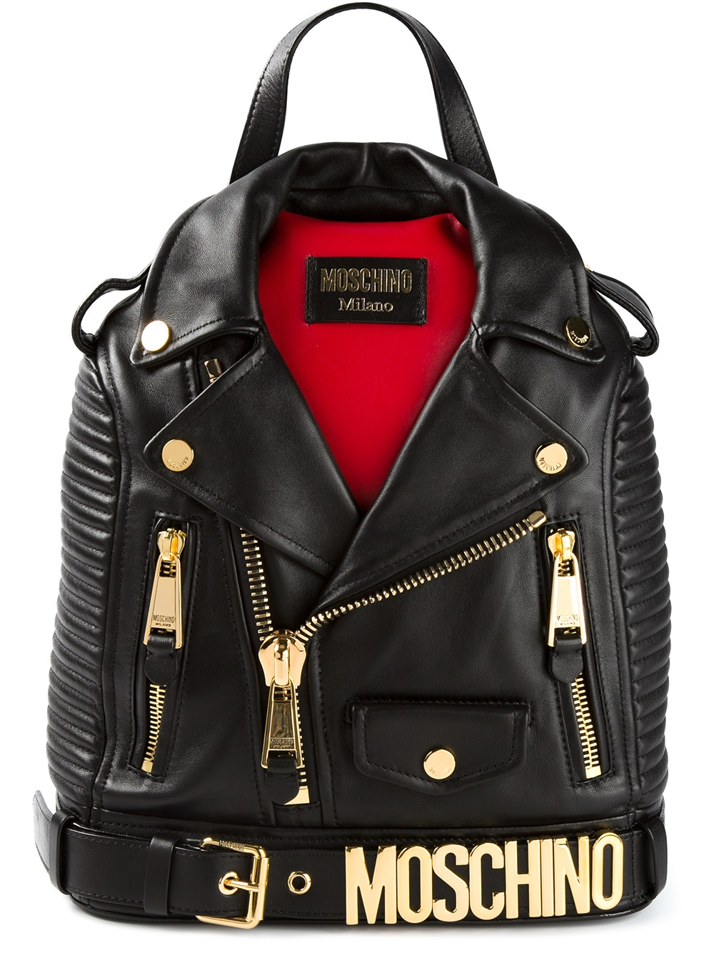 Jacket Backpack Moschino Biker Jacket Backpack In Black Lyst