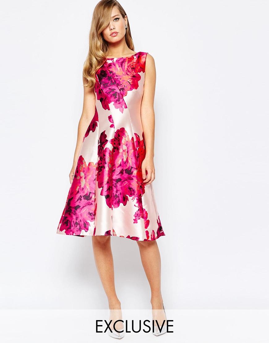4921029610 Lyst - True Violet Full Sateen Skater Dress In Bold Floral Print