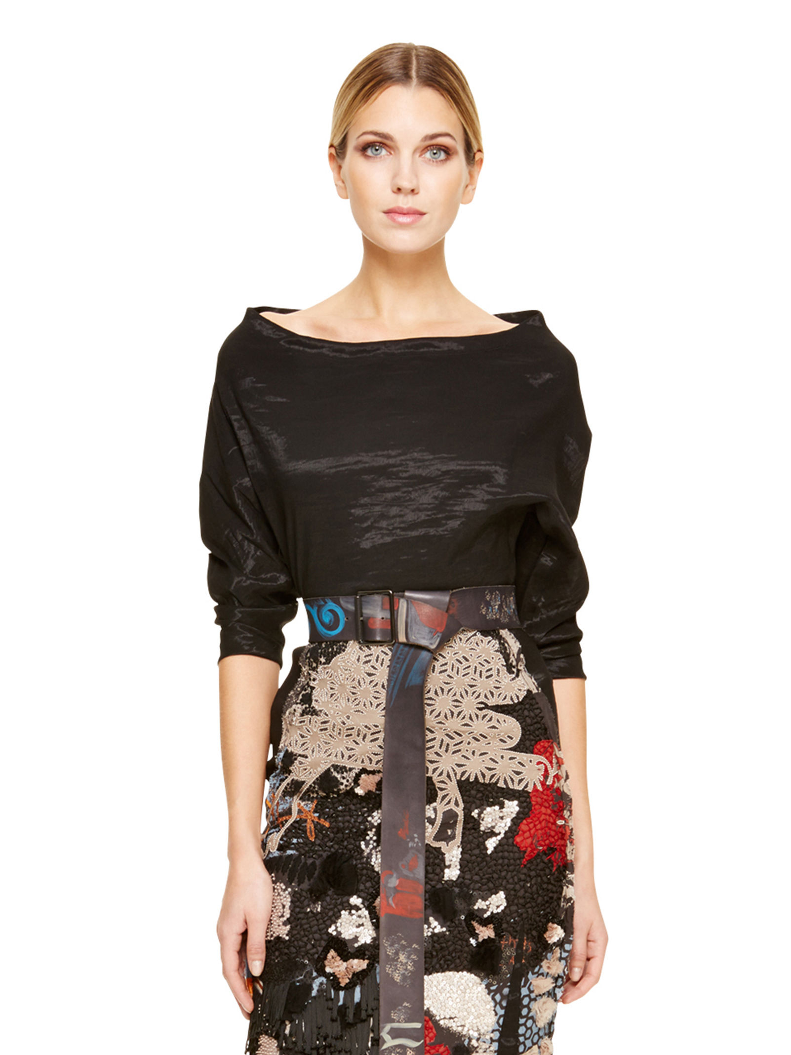 Donna karan new york elbow sleeve bateau top in black lyst for Donna karen new york