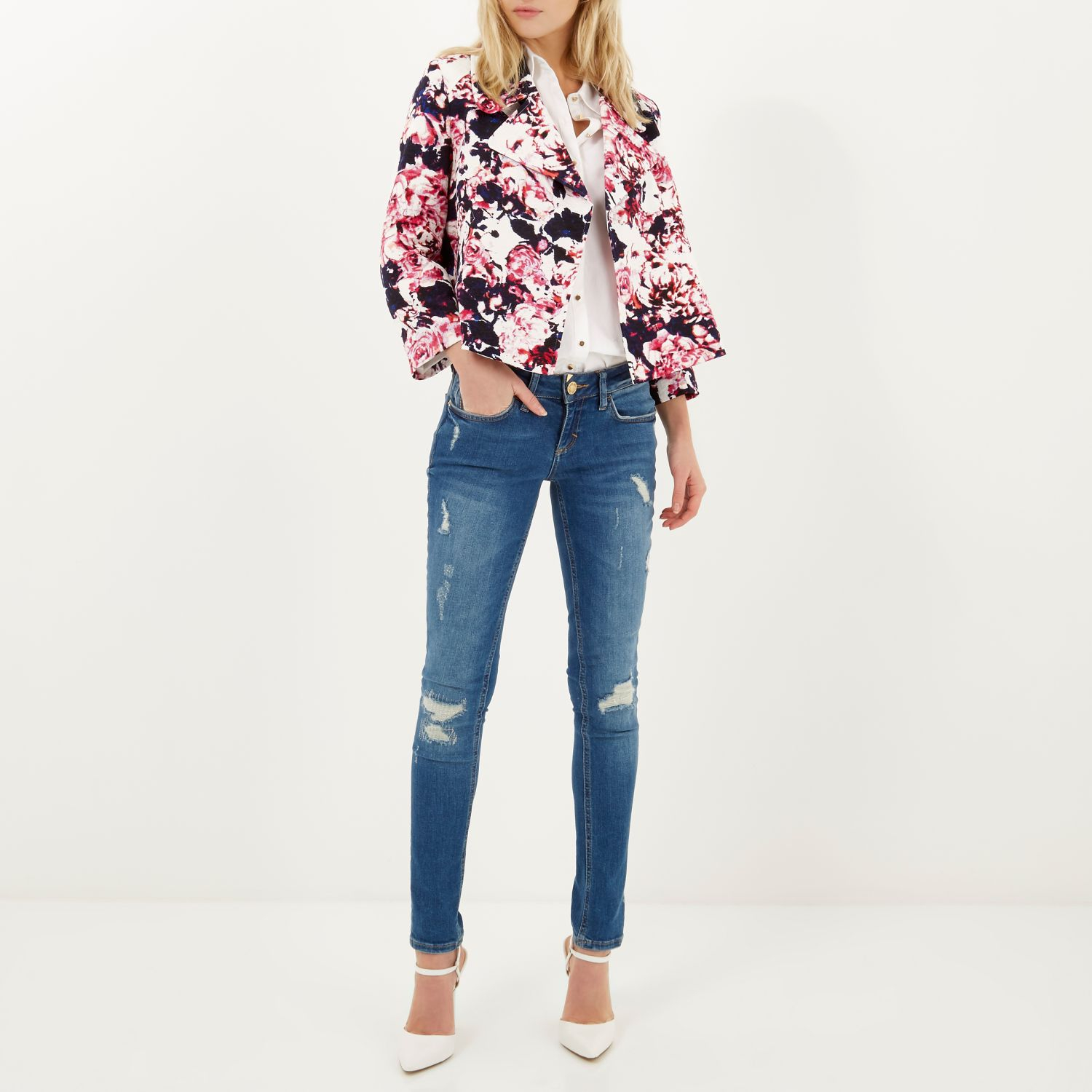 River island Pink Floral Jacquard Cropped Relaxed Jacket in Purple ...