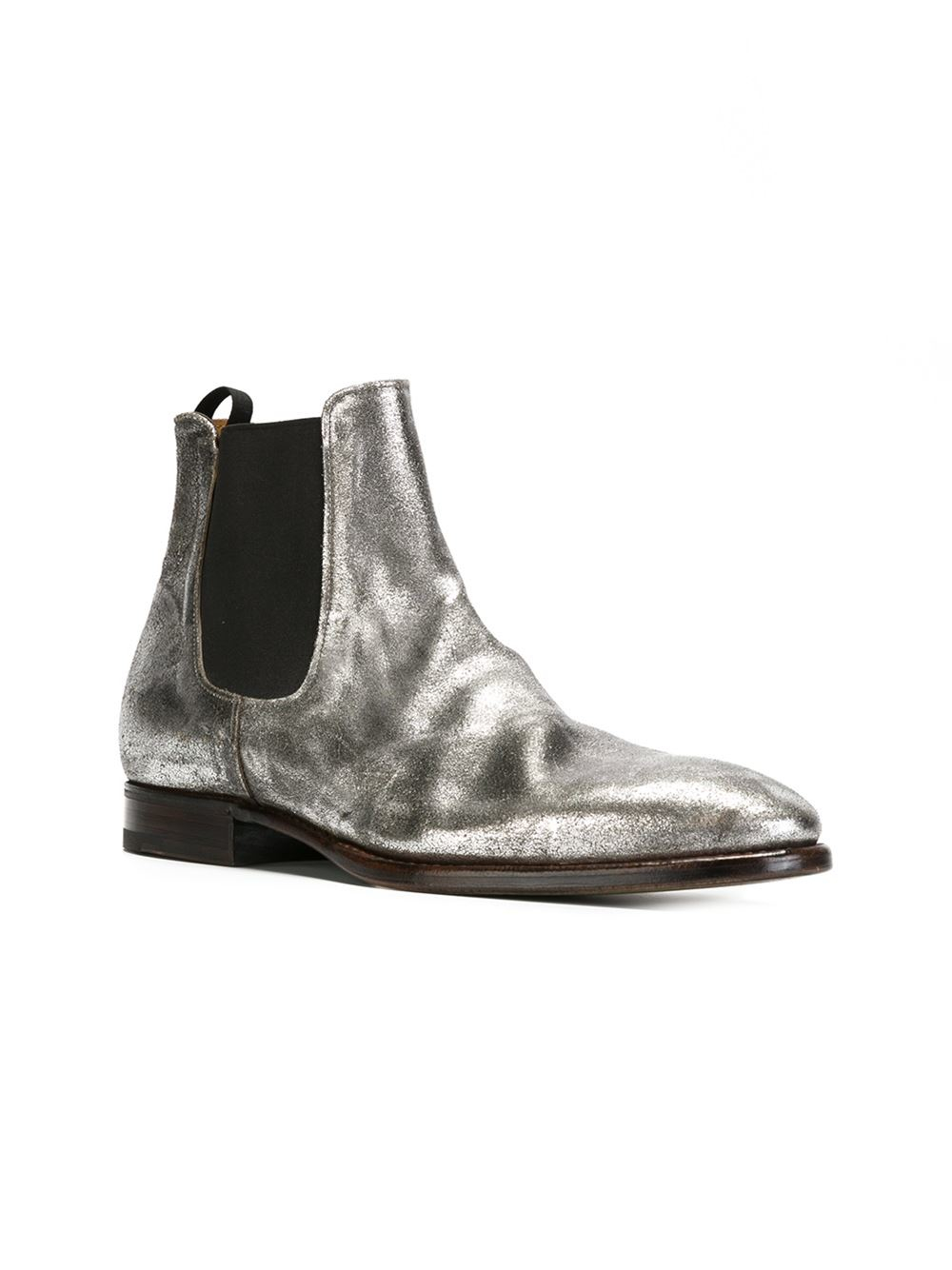 premiata flat ankle boots in silver for metallic lyst