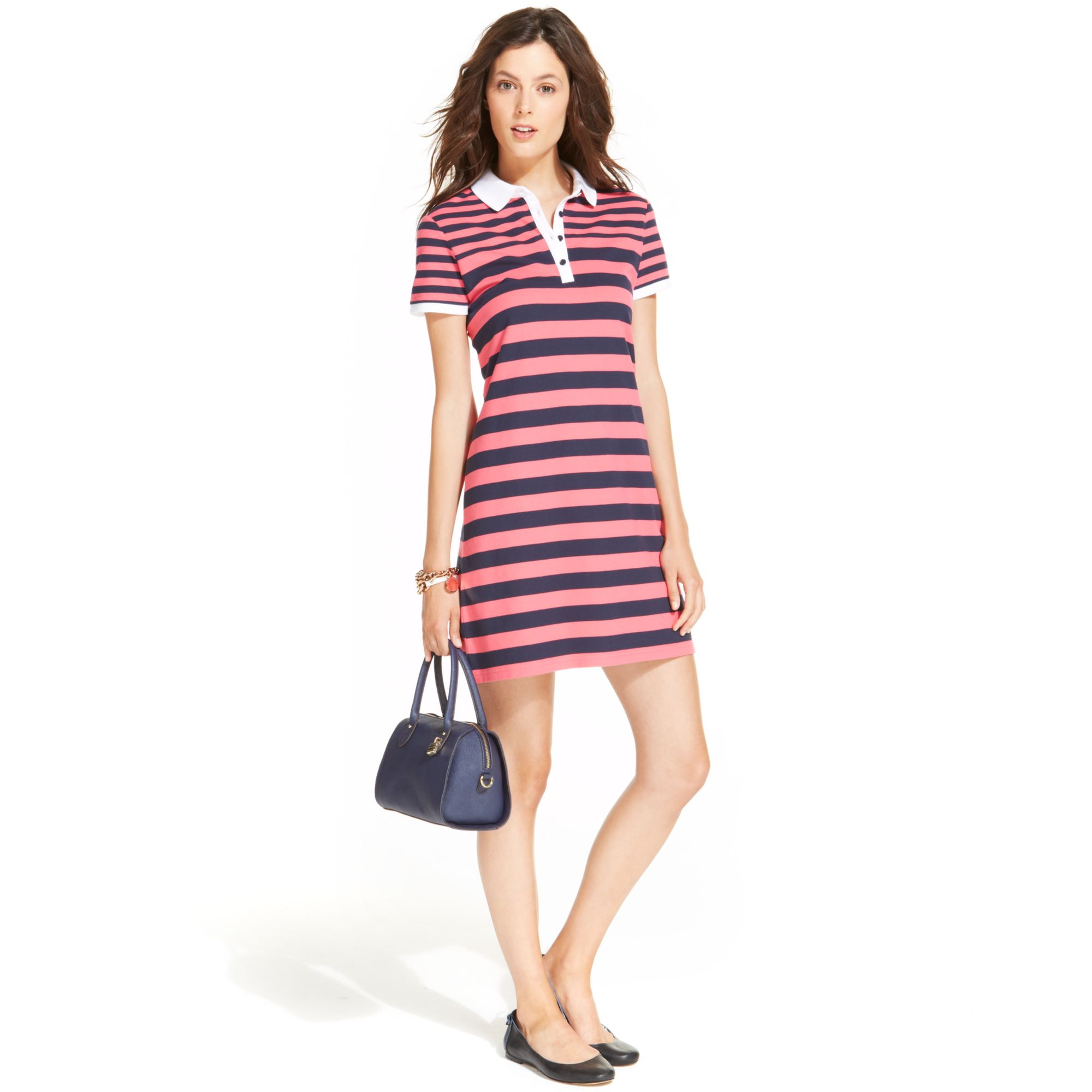 723808d7 Tommy Hilfiger Shortsleeve Striped Polo Dress in Pink - Lyst