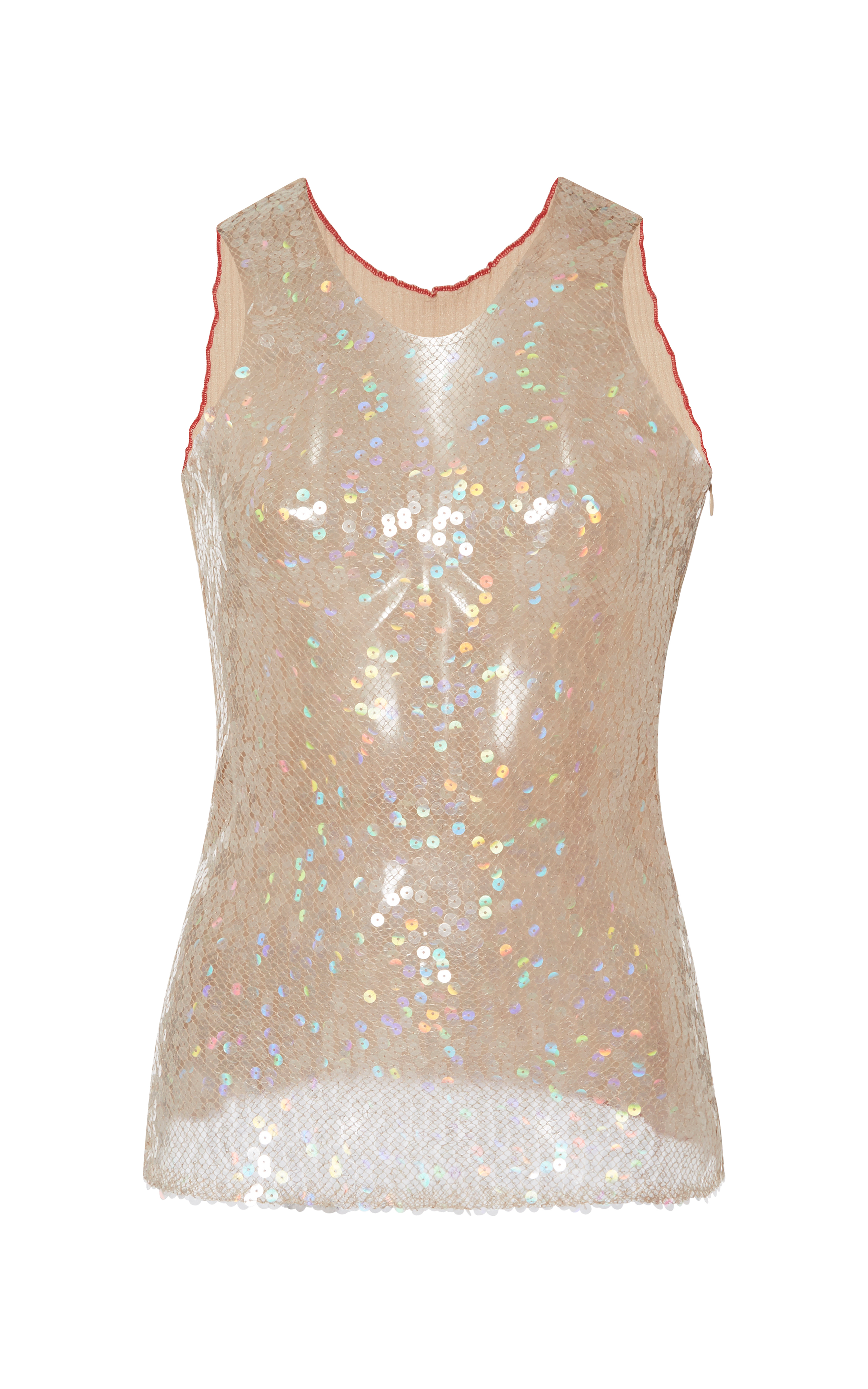 rodarte nude iridescent sequin tank top in natural lyst