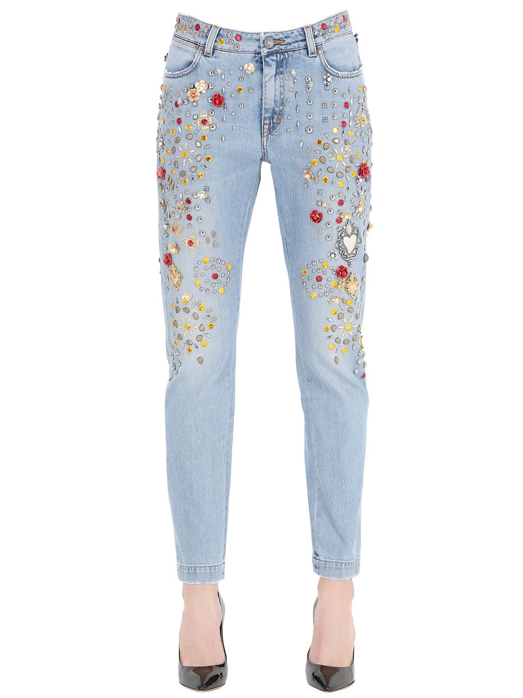 dolce gabbana embellished boyfriend cotton denim jeans. Black Bedroom Furniture Sets. Home Design Ideas
