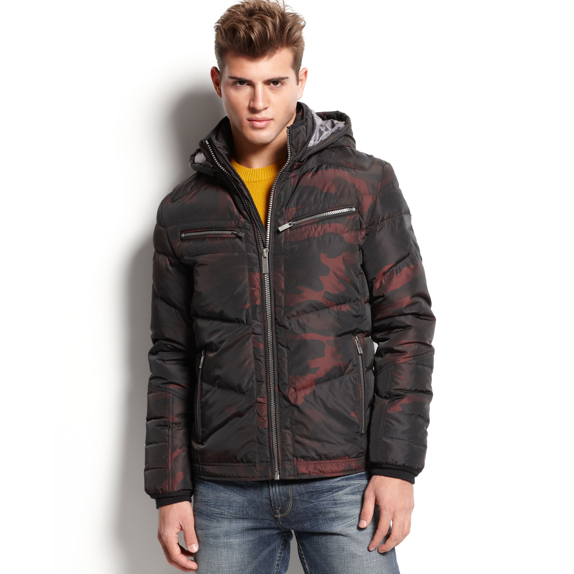 Lyst Guess Hooded Camo Print Puffer Jacket In Purple For Men