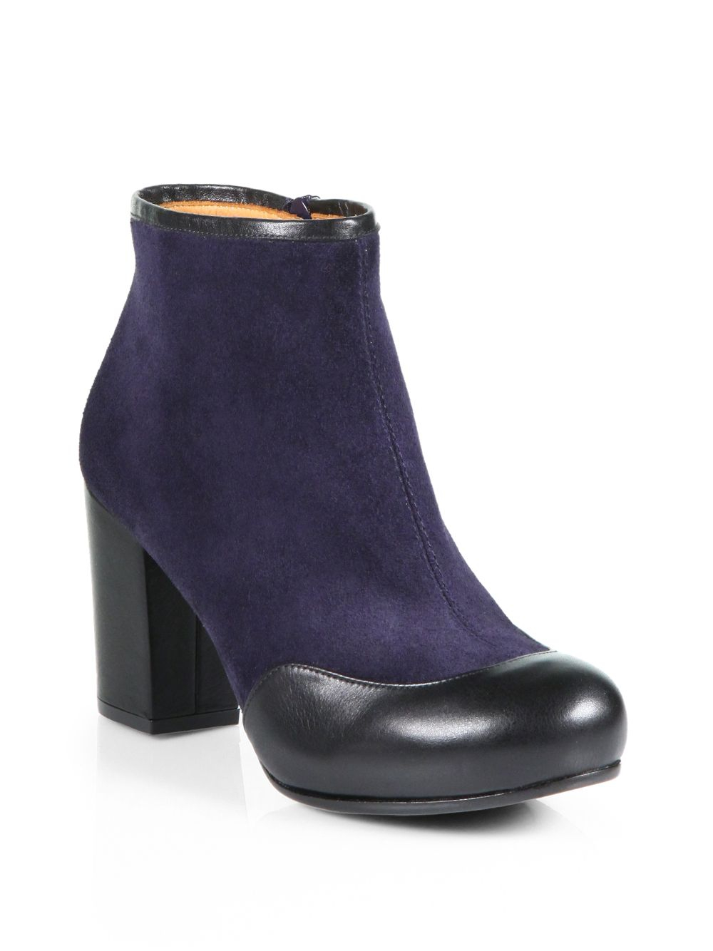 chie mihara tazmar suede leather ankle boots in purple lyst