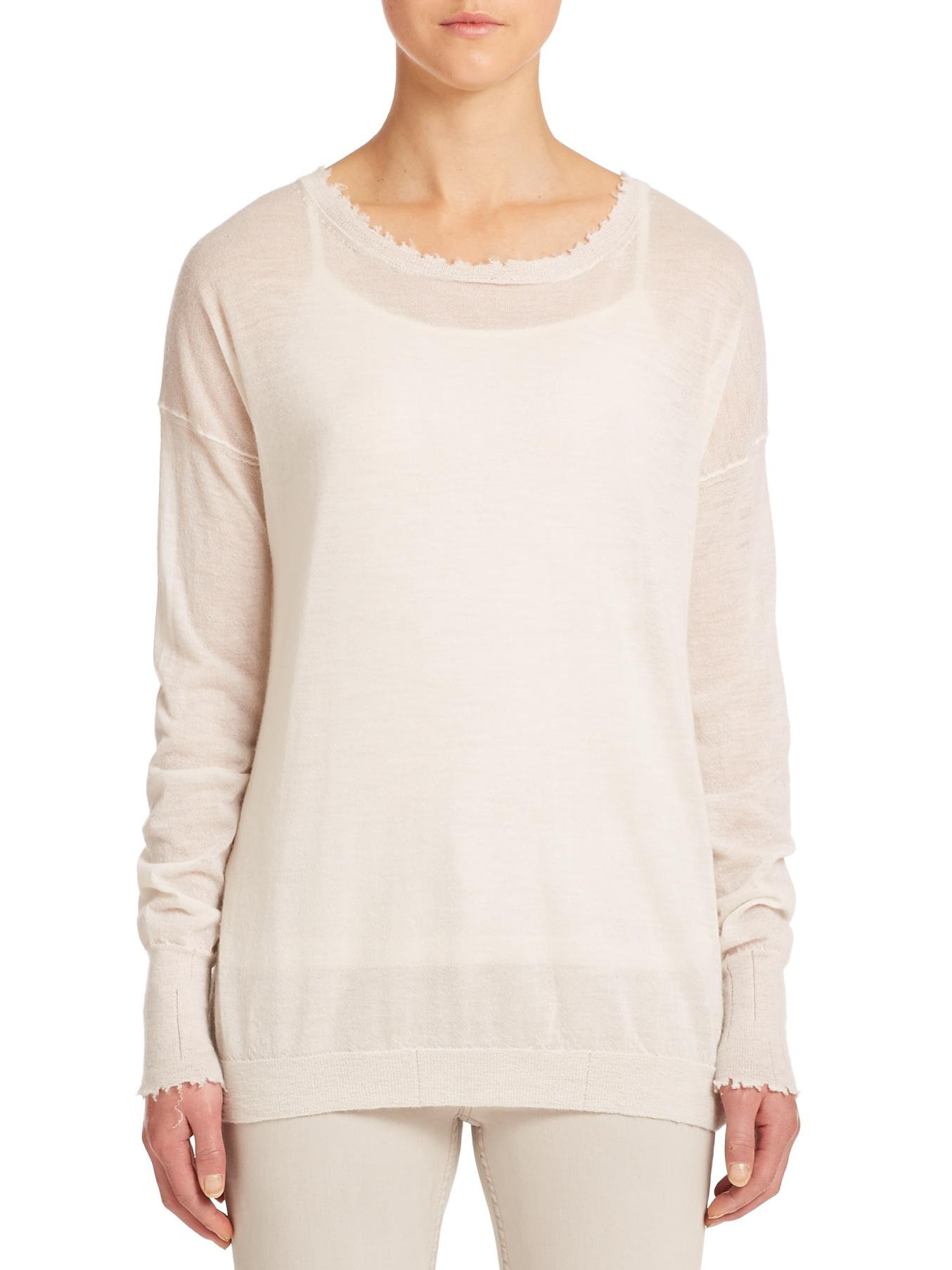 Helmut lang Fine-gauge Cashmere Sweater in White | Lyst
