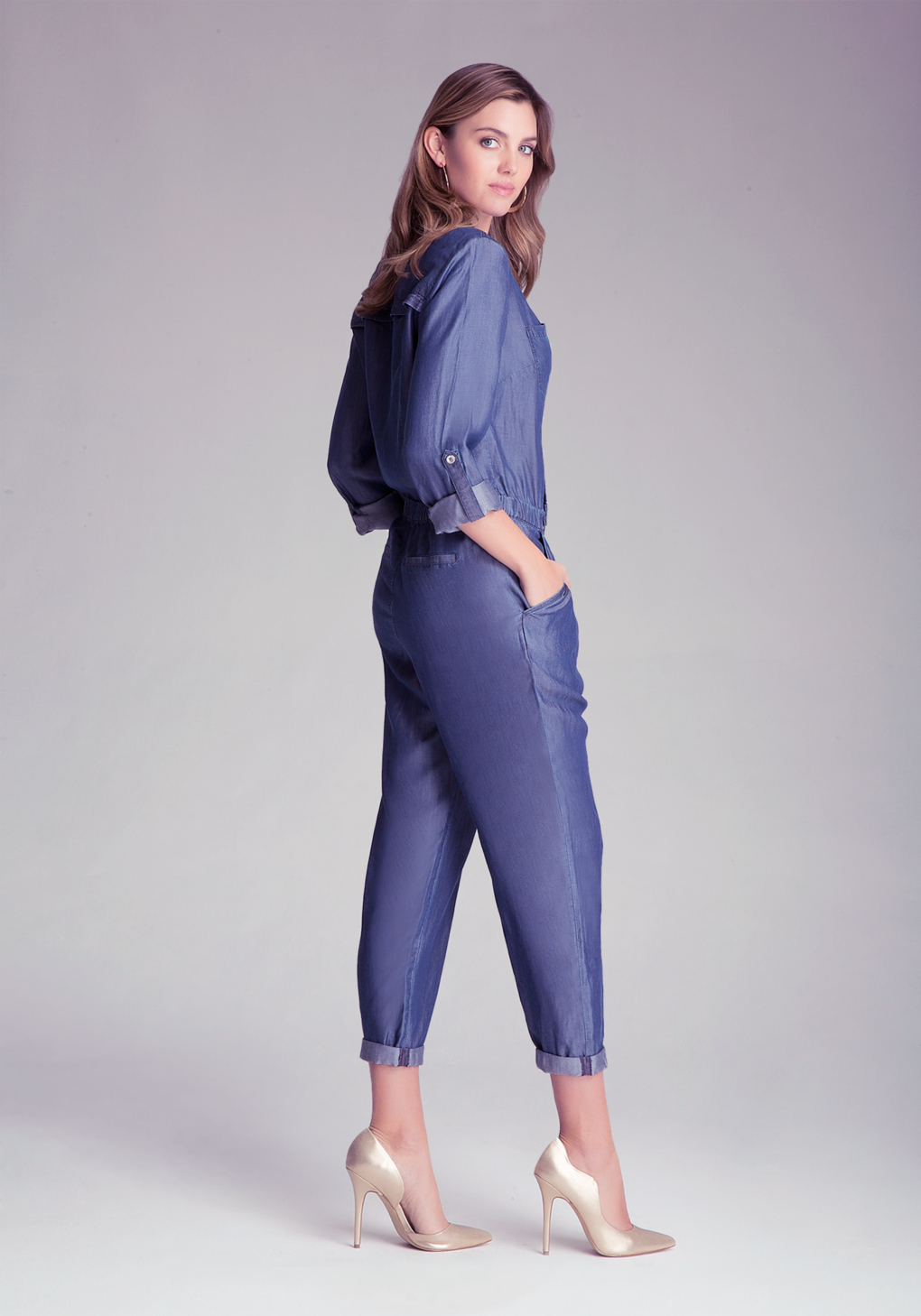 Bebe chambray flight suit in blue lyst gallery ombrellifo Images