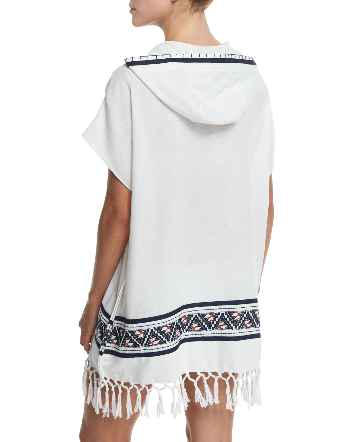 75c0da90ce Tory Burch Embroidered Beach Poncho Coverup With Hood in White - Lyst