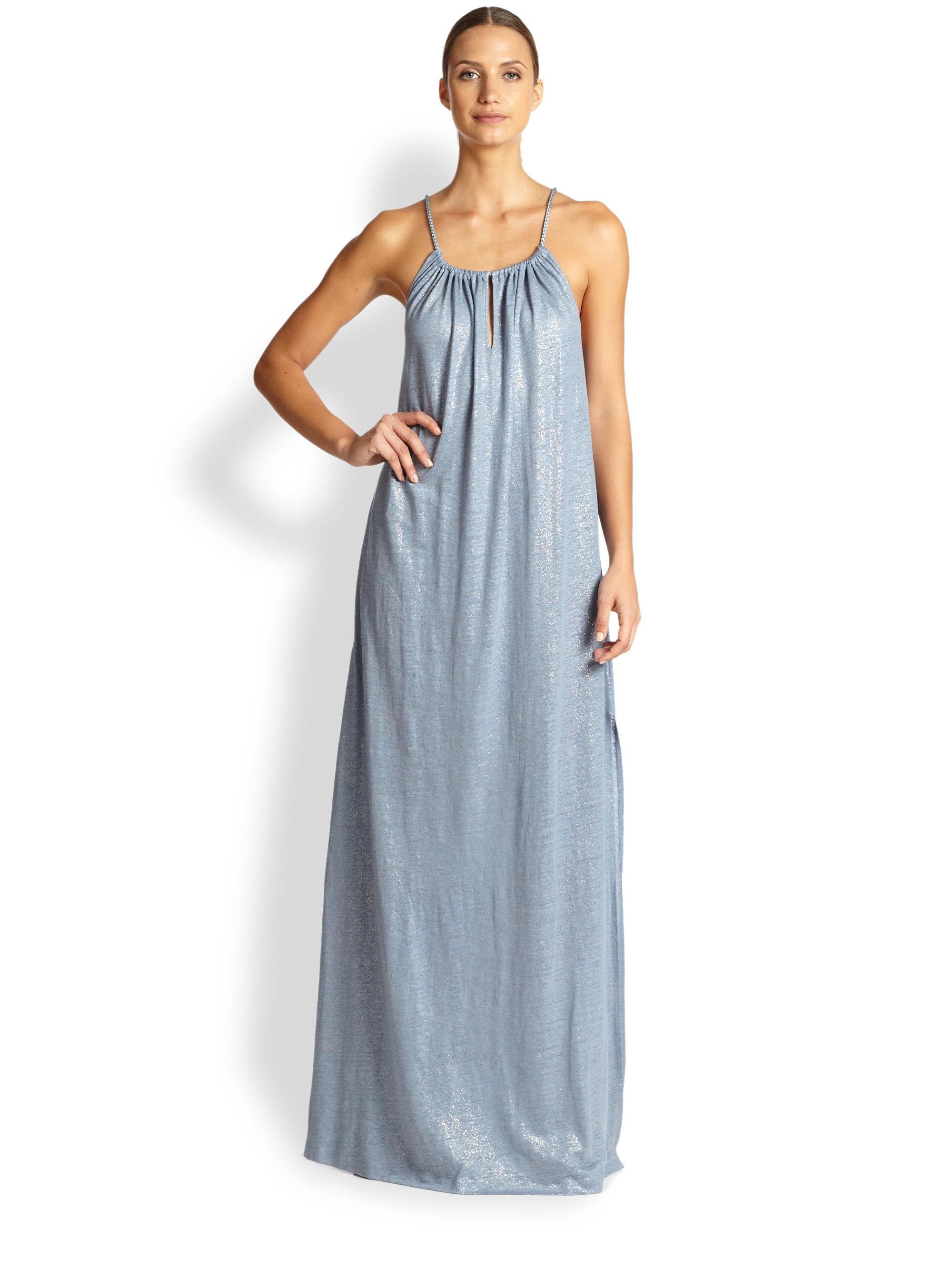 Lazul Metallic-detailed Linen Maxi Dress in Blue  Lyst