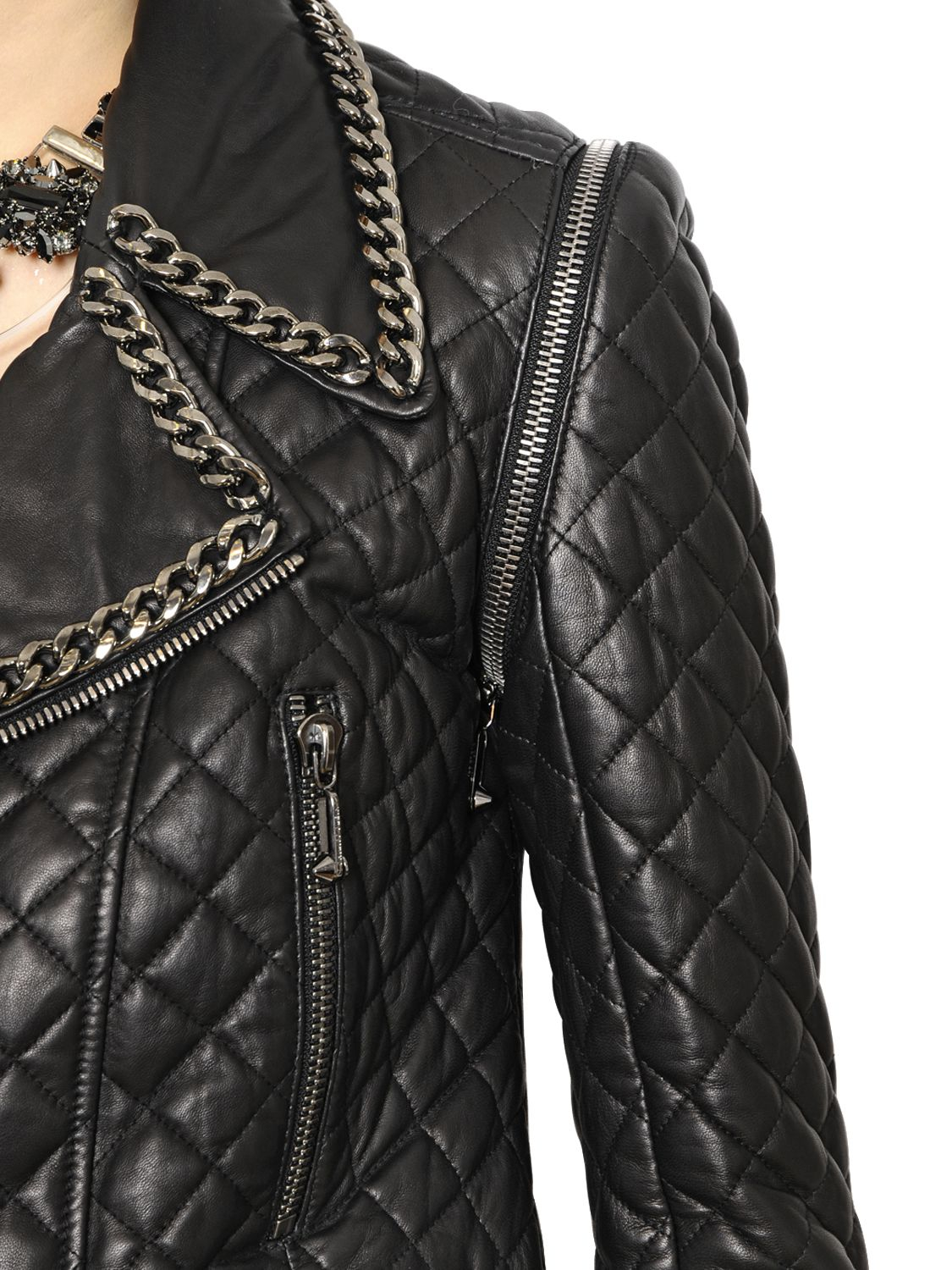 philipp plein embellished quilted nappa leather jacket in. Black Bedroom Furniture Sets. Home Design Ideas