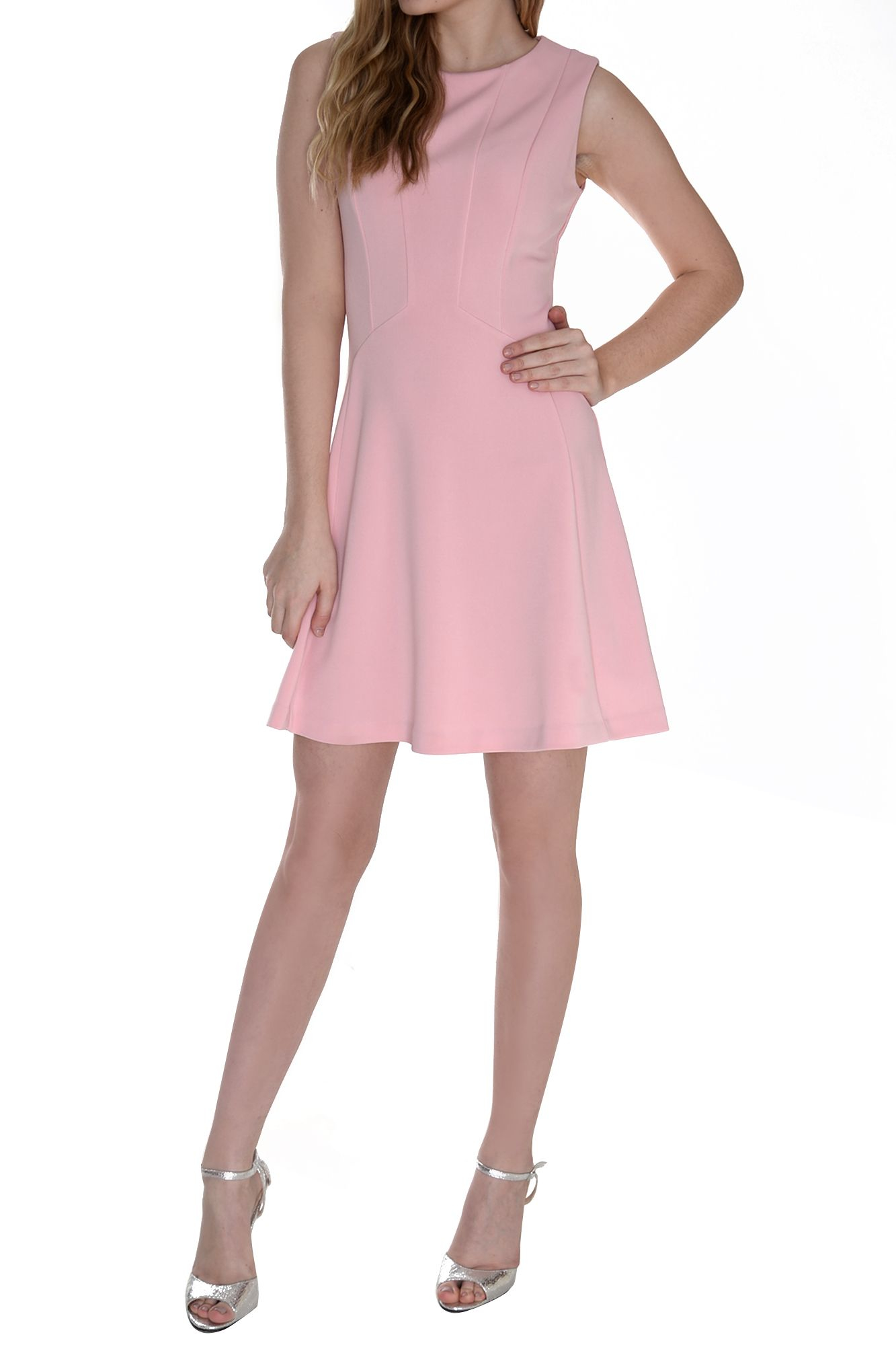True decadence structured skater dress in pink pastel for Pastel pink dress shirt