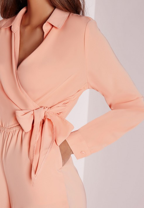 bf36b8464d Lyst - Missguided Wrap Front Shirt Playsuit Nude in Natural