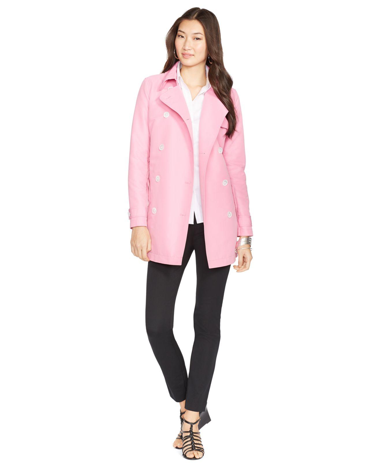 Lauren by ralph lauren Petite Double-Breasted Trench Coat in Pink ...