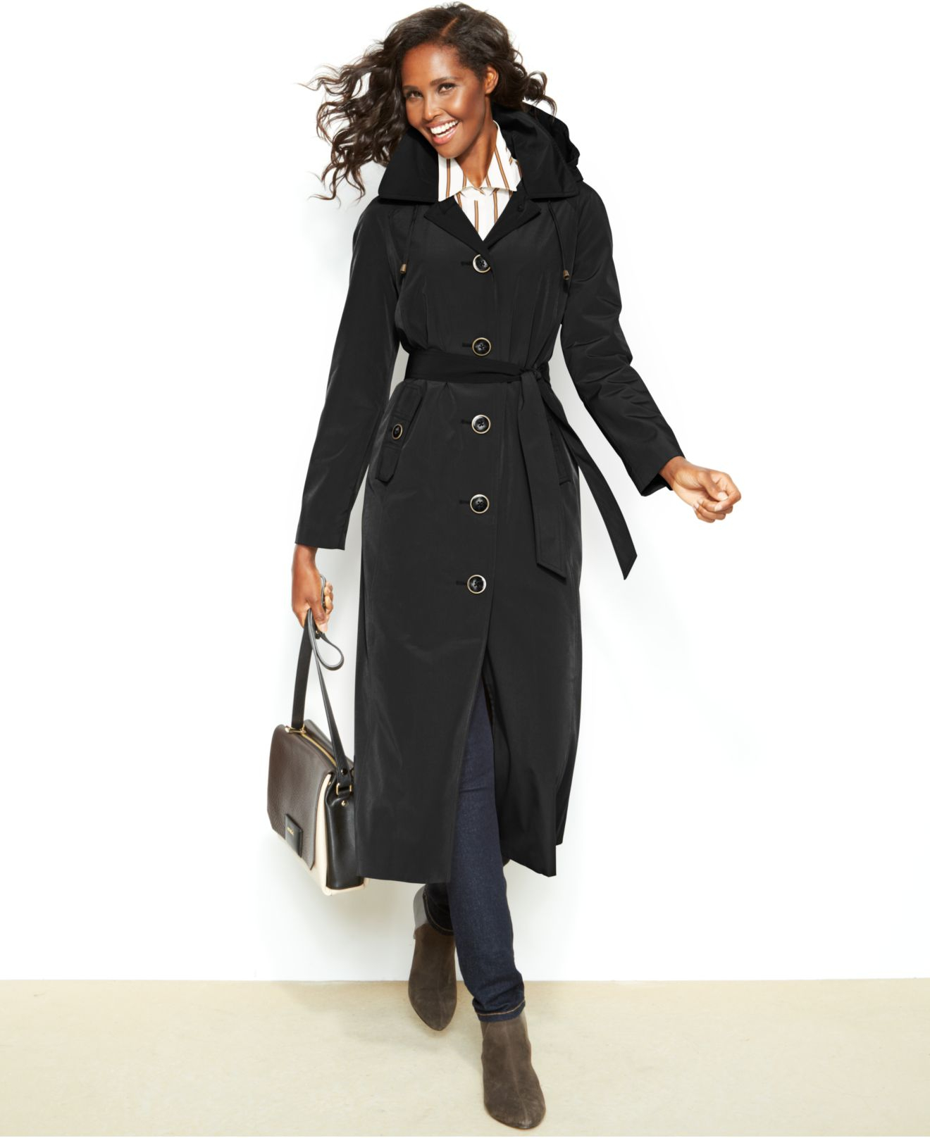 London fog Petite Hooded Single-Breasted Maxi Trench Coat in Black