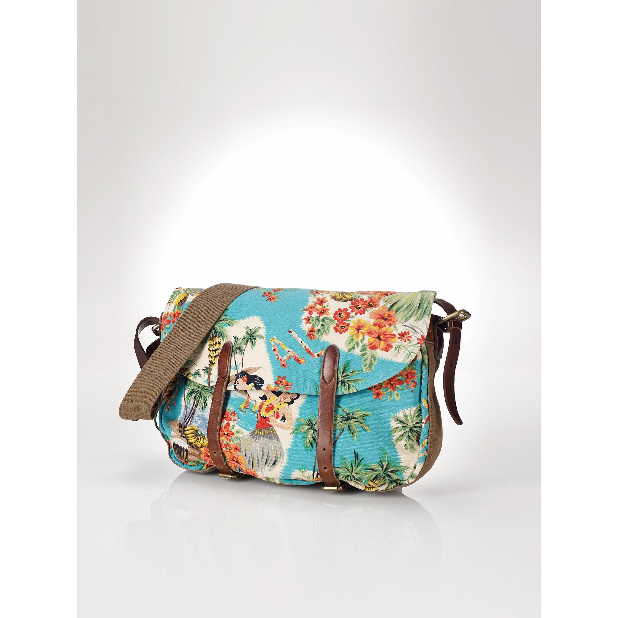 5edc12cd07 ... best price lyst polo ralph lauren floral canvas bag f0dcc 351dd