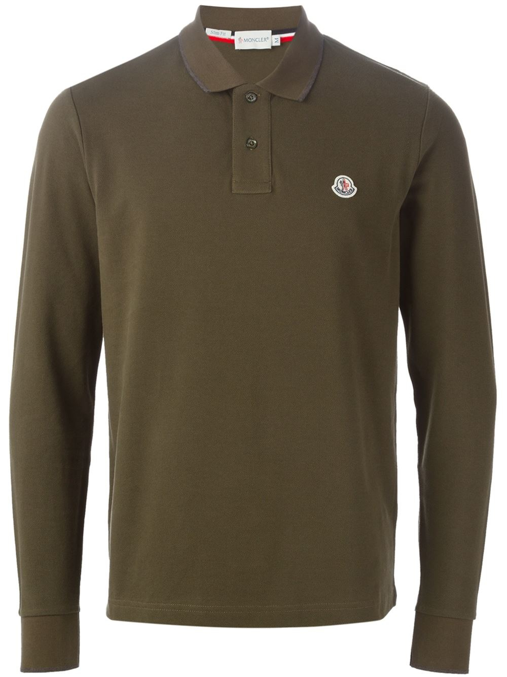 Moncler Long Sleeve Polo Shirt In Green For Men Lyst