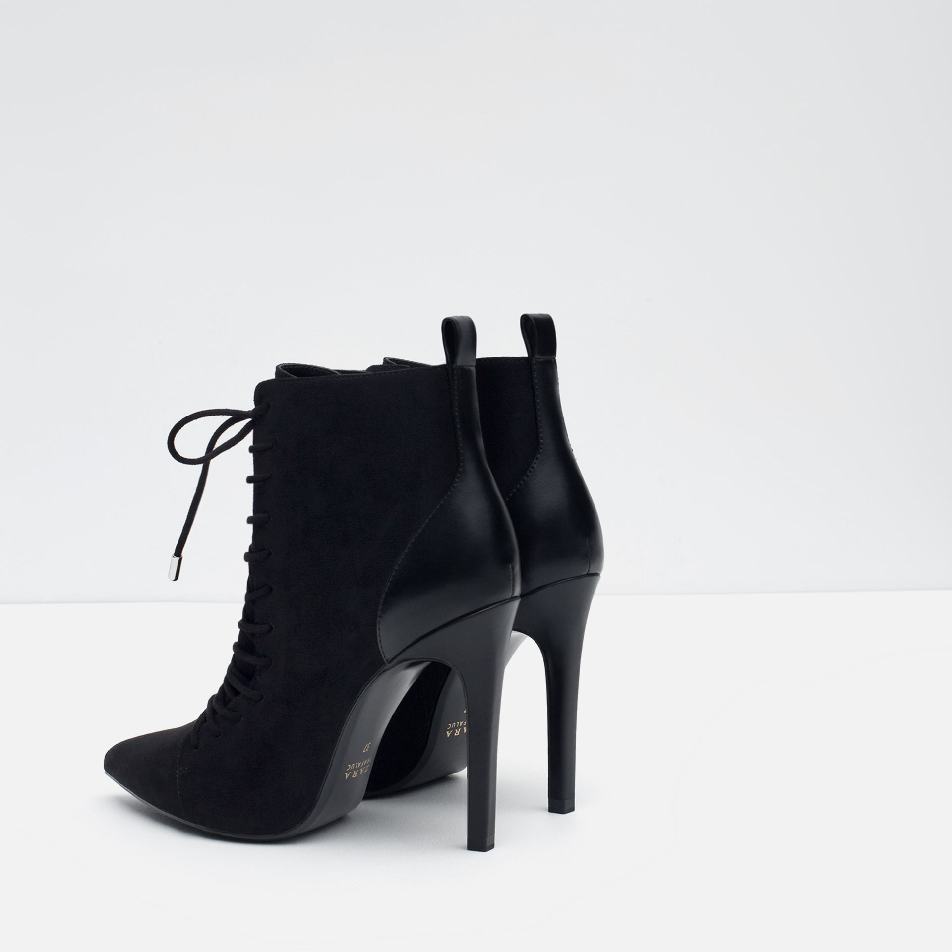 zara high heel ankle boots with laces in black lyst
