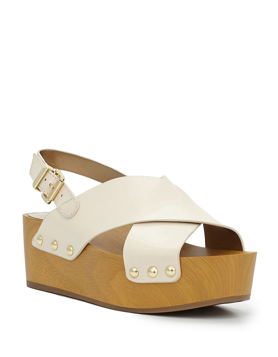 4861d84fd Sam Edelman Studded Leather Wooden Wedge Sandals in White - Lyst