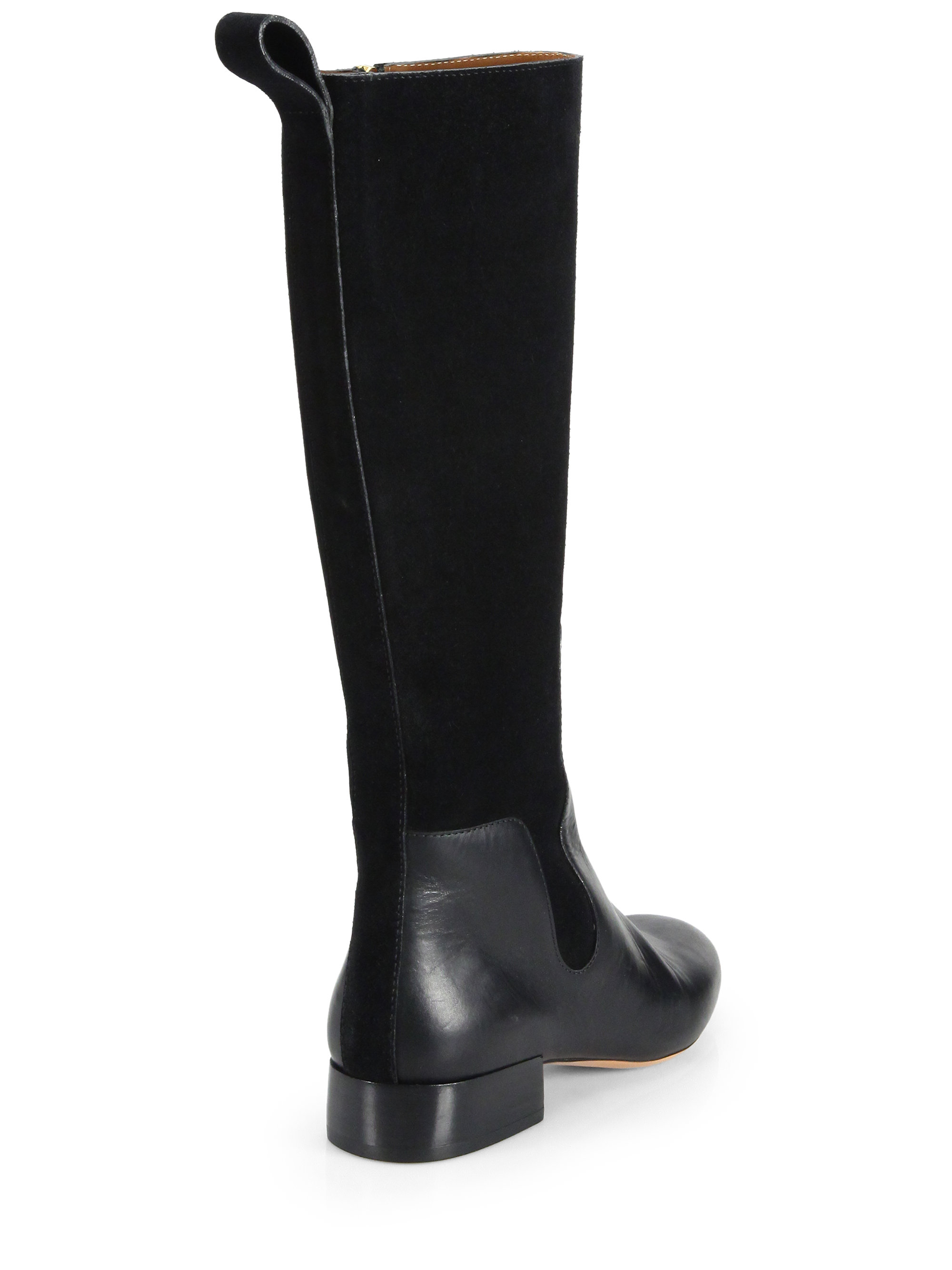 Chloé Leather & Suede Knee-High Boots in Black | Lyst