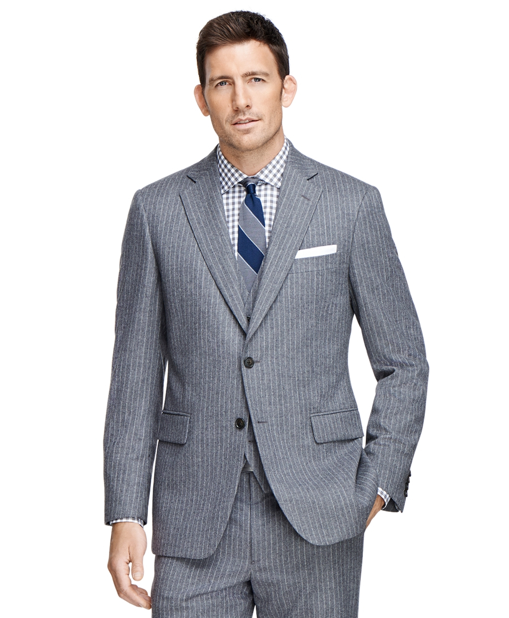 Brooks brothers madison fit three piece stripe 1818 suit for Brooks brothers custom shirt