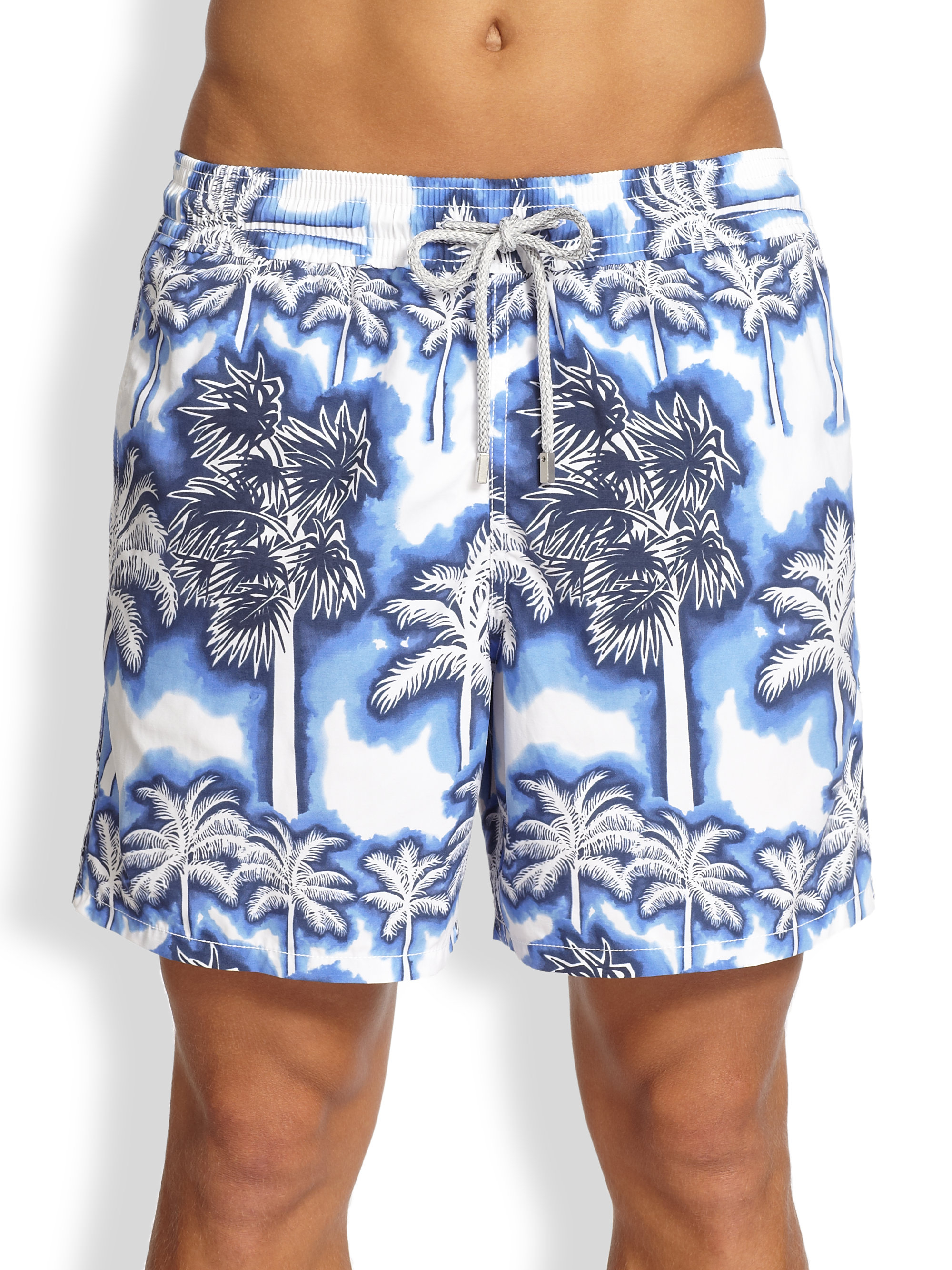 5e9a90f507 Vilebrequin Moorea Palm Tree Swim Trunks in Blue for Men - Lyst
