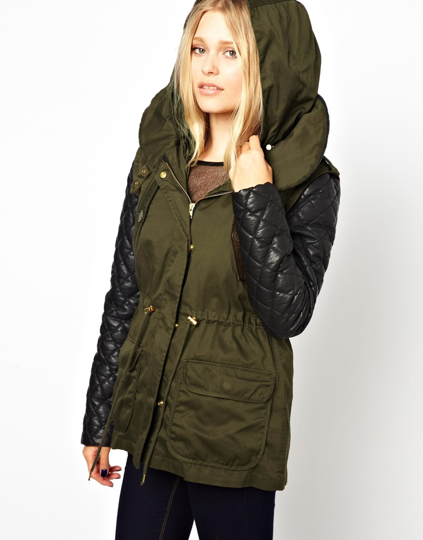 Barneys originals Barneys Originals Parka With Leather Look ...