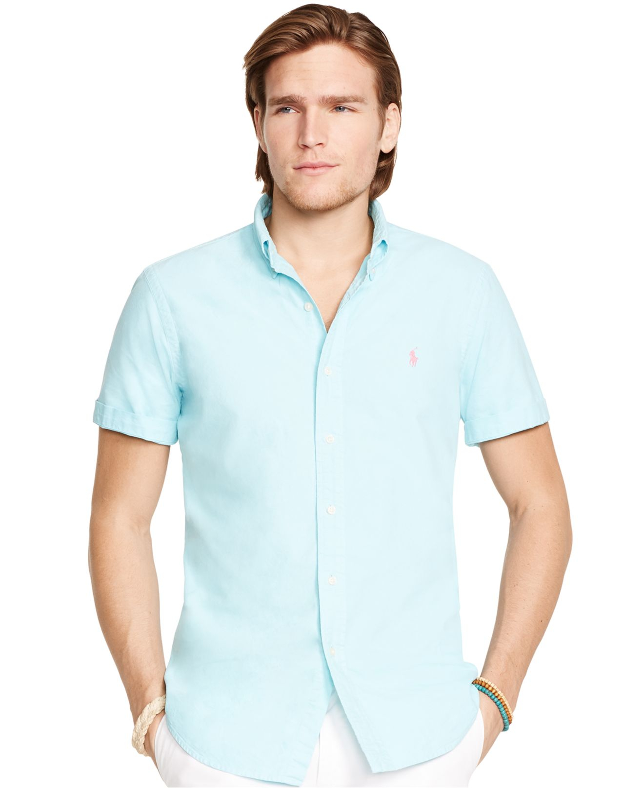 NWT Men/'s Polo Ralph Lauren Short Sleeved Slim Fit Oxford Shirt Solid Colors NEW