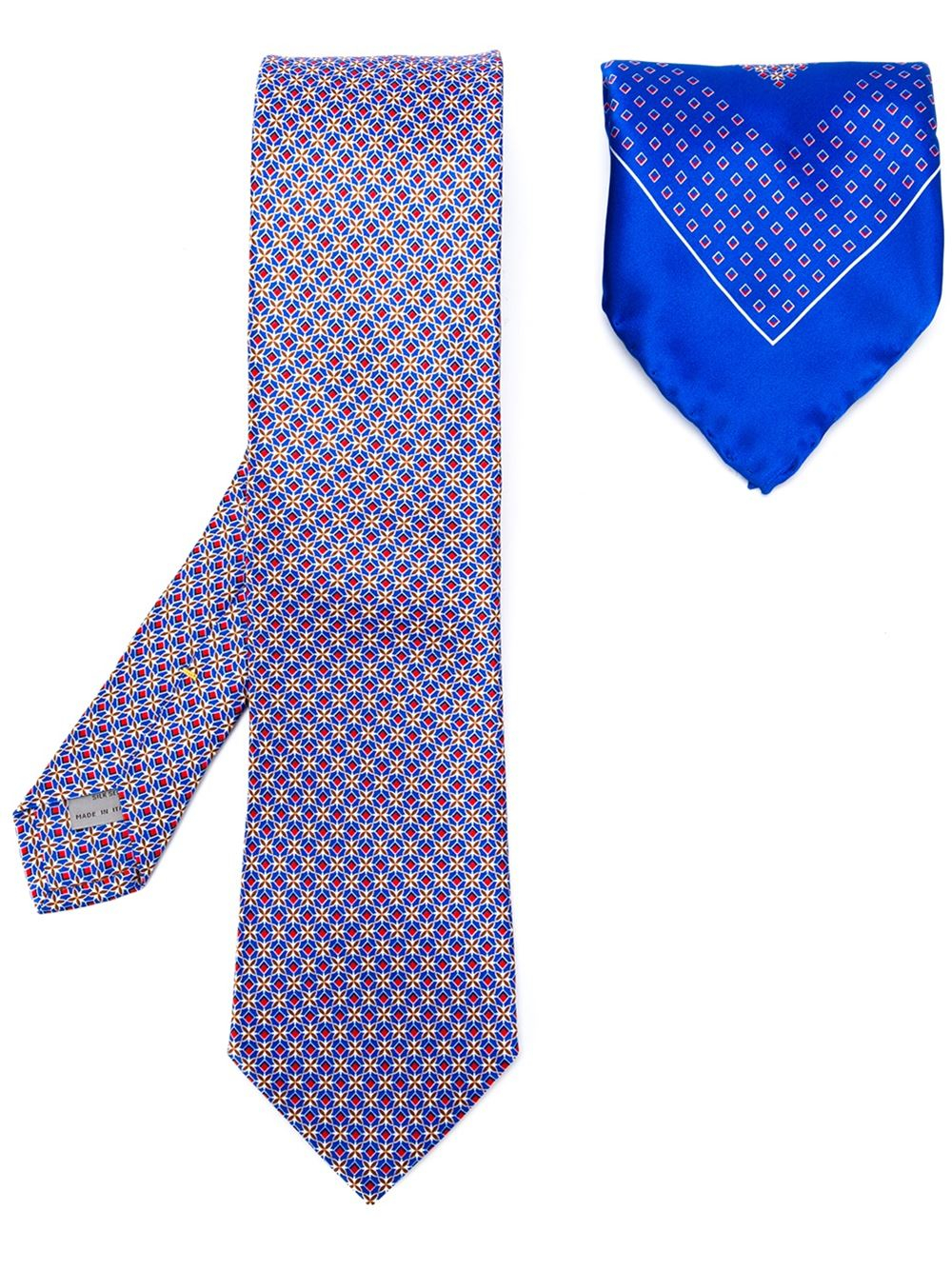 canali set of tie and pocket square in blue for lyst