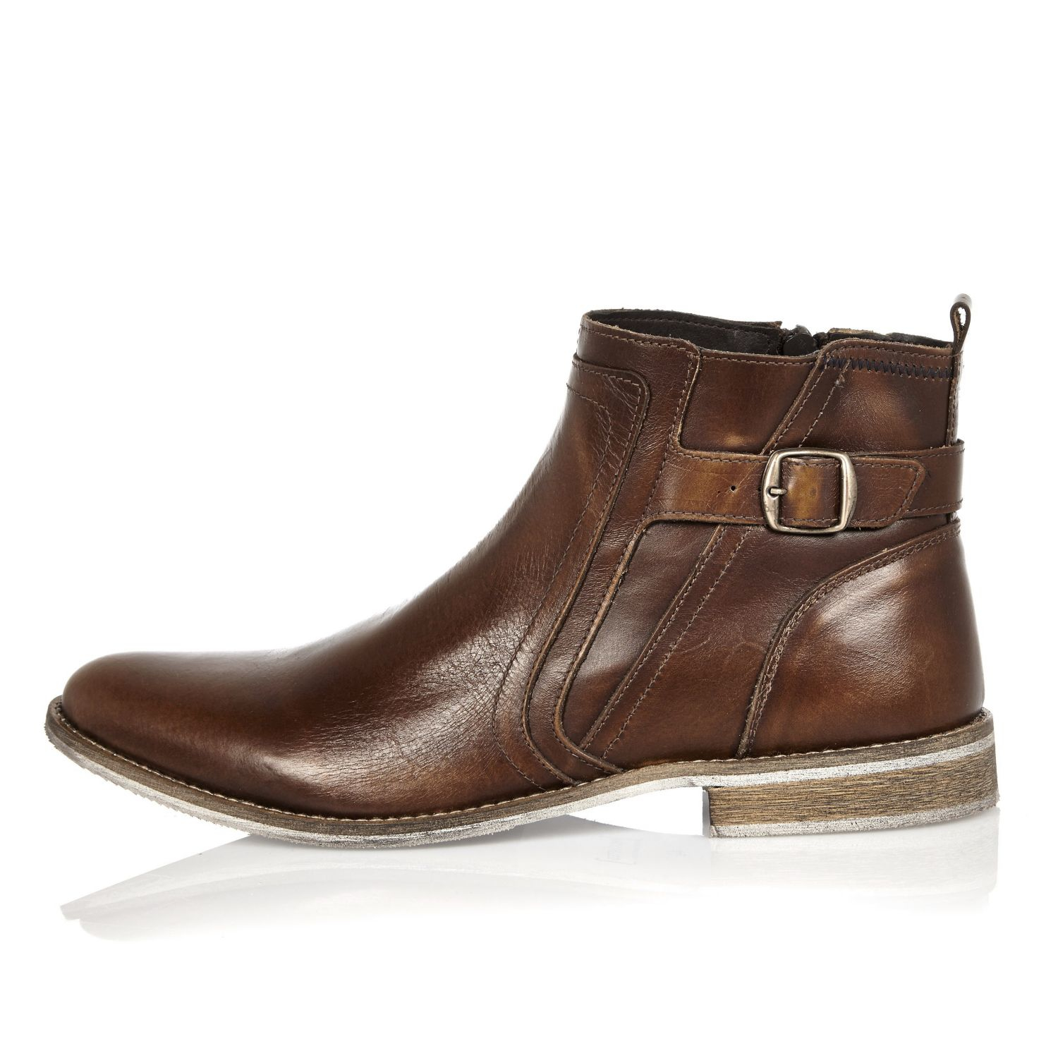 river island brown leather chelsea boots in brown