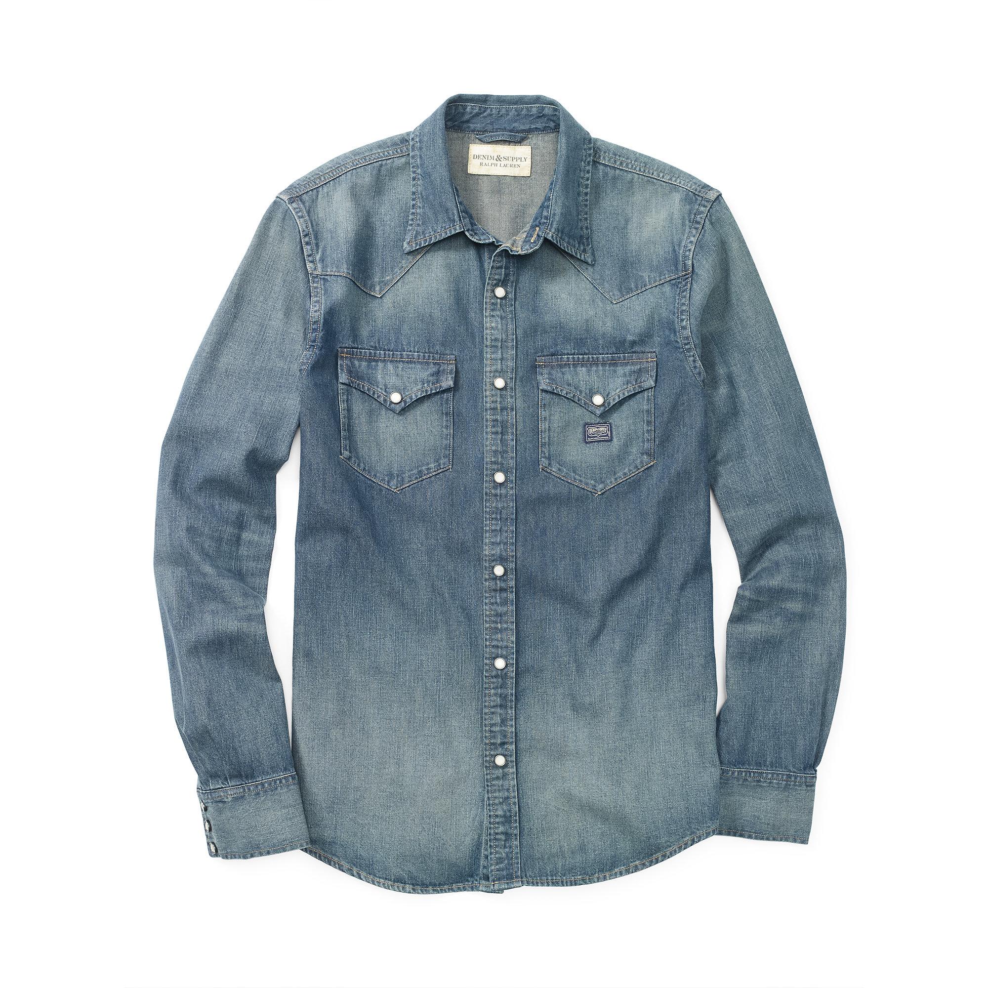 d719e76478 Lyst - Denim   Supply Ralph Lauren Indigo Denim Western Shirt in ...