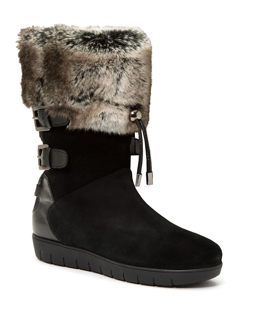 260f2c1c Aquatalia Weslyn Leather And Faux Fur-lined Boots in Black - Lyst