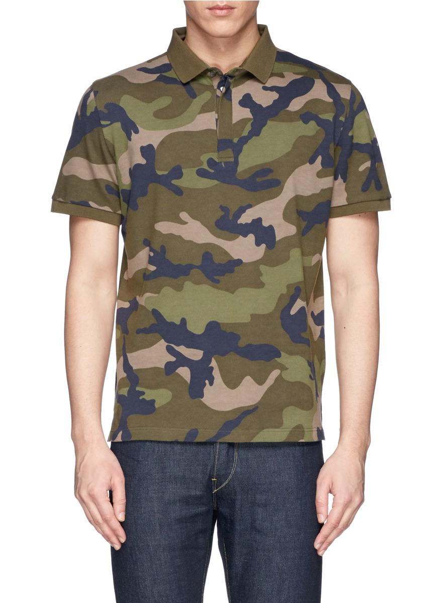 Lyst valentino camouflage cotton piqu polo shirt in for Camo polo shirts for men