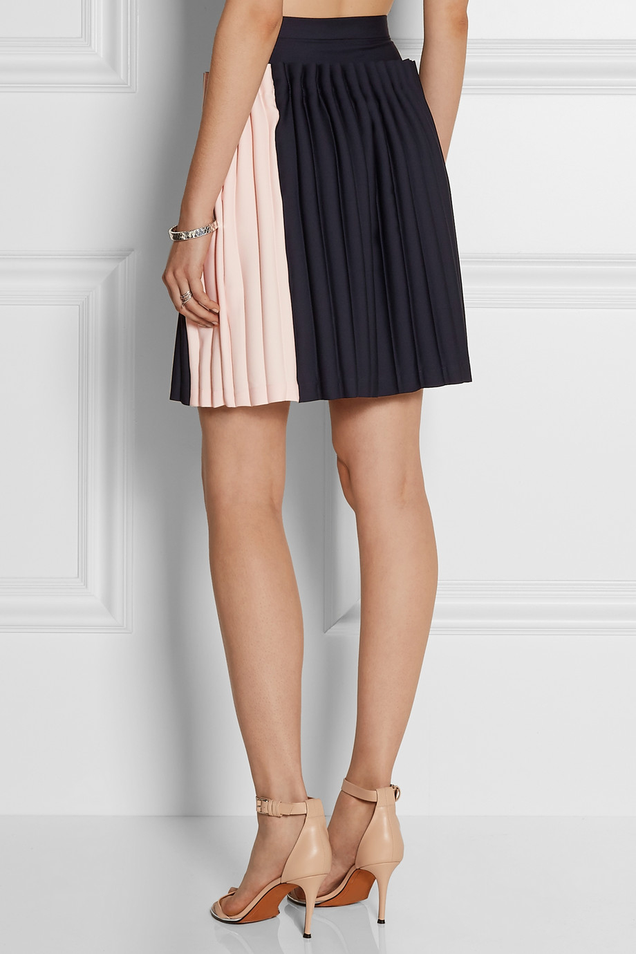 opening ceremony two tone pleated cady skirt in black lyst