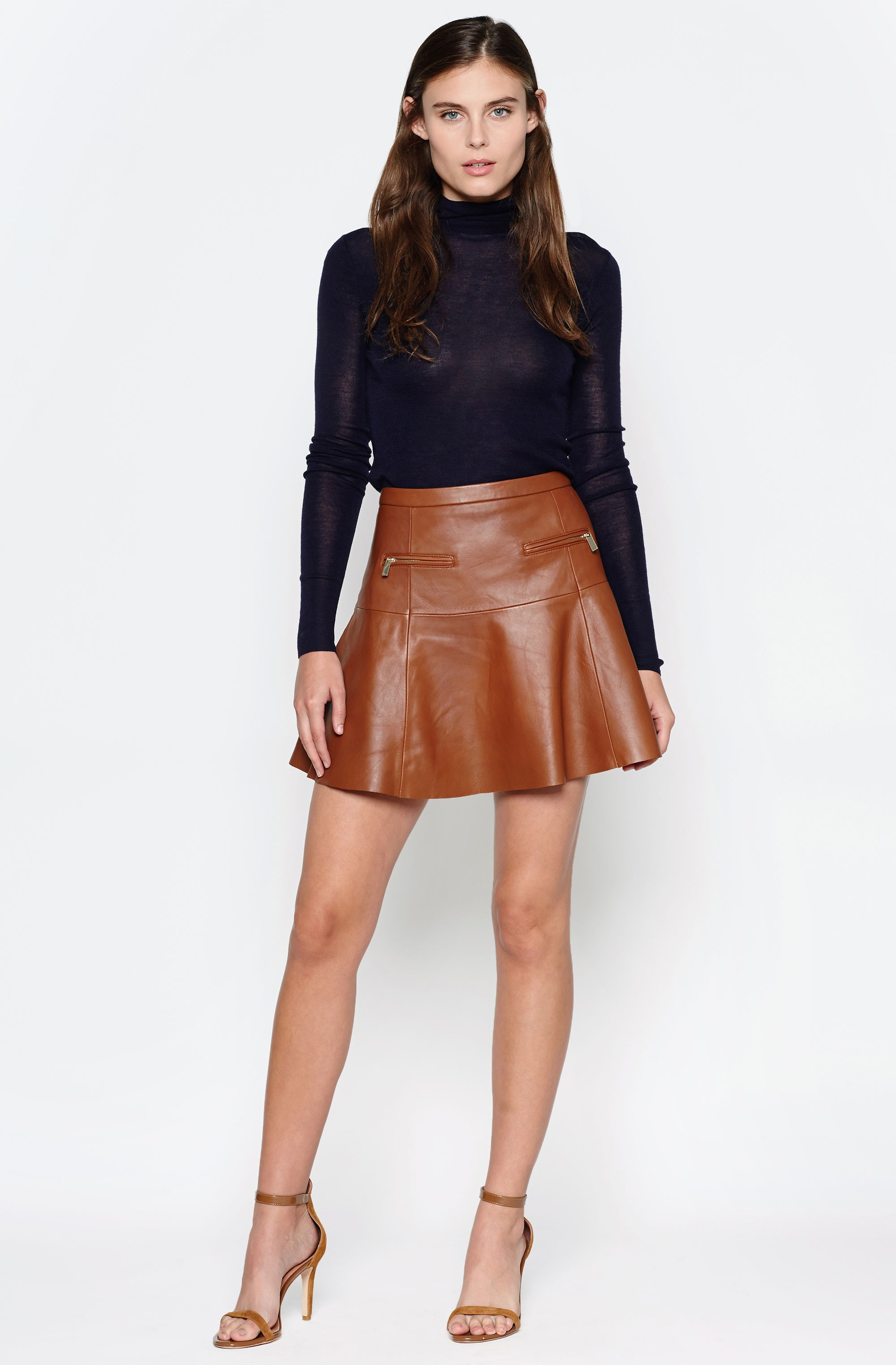 Joie Briza B Leather Skirt in Brown | Lyst